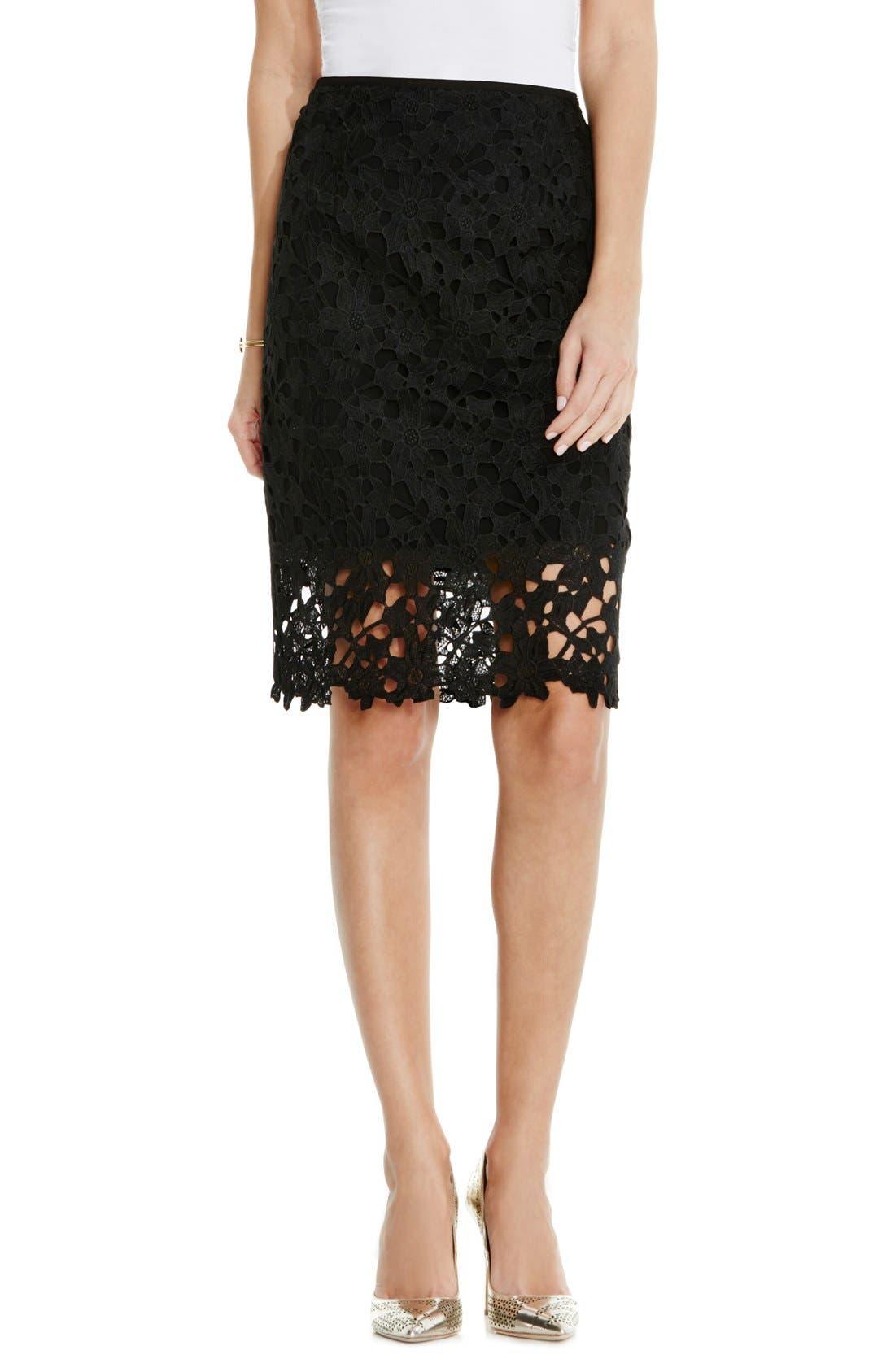 Floral Lace Pencil Skirt,                             Main thumbnail 1, color,                             001