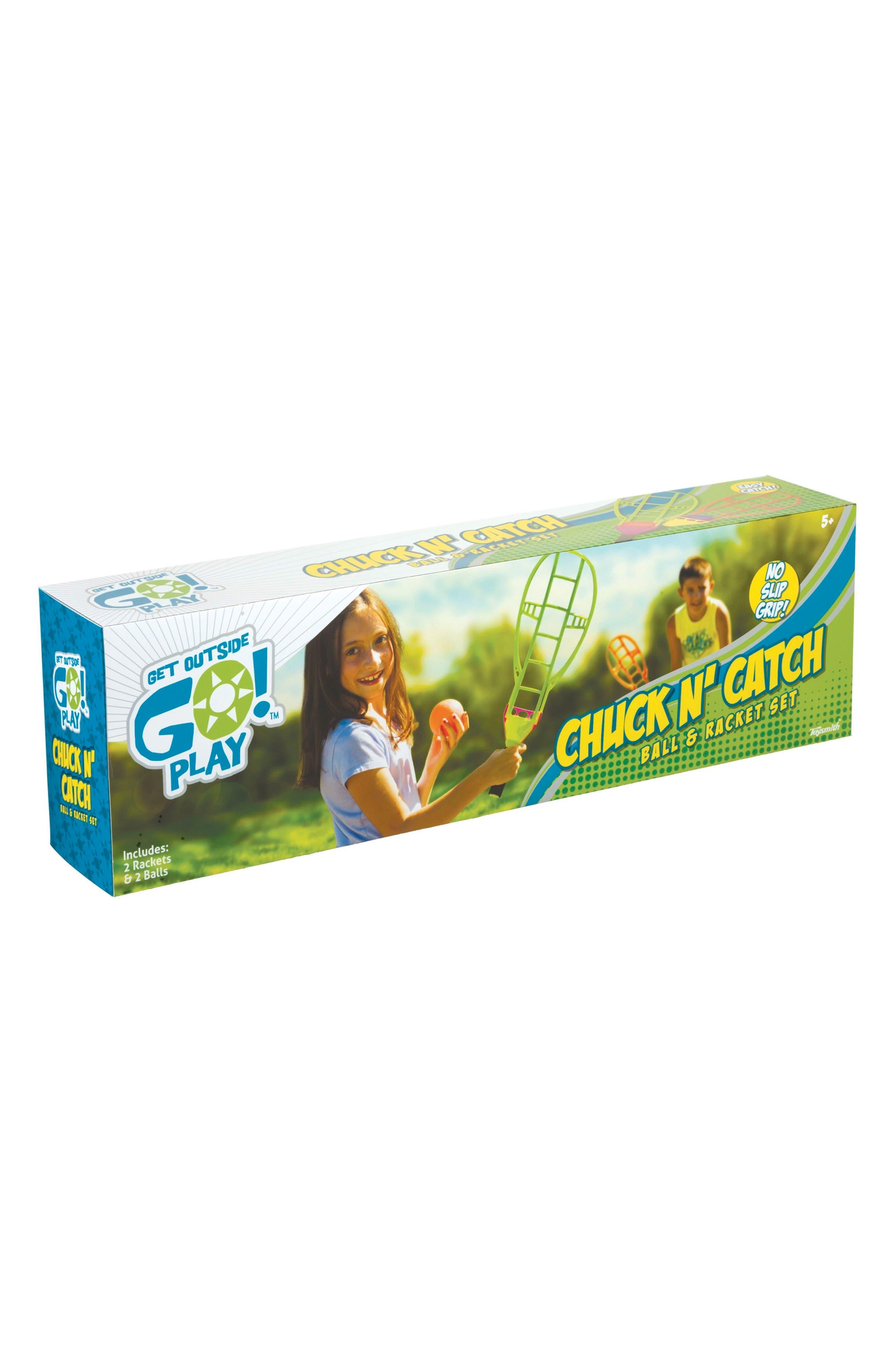 TOYSMITH Chuck N' Catch Ball & Racket Set, Main, color, 800