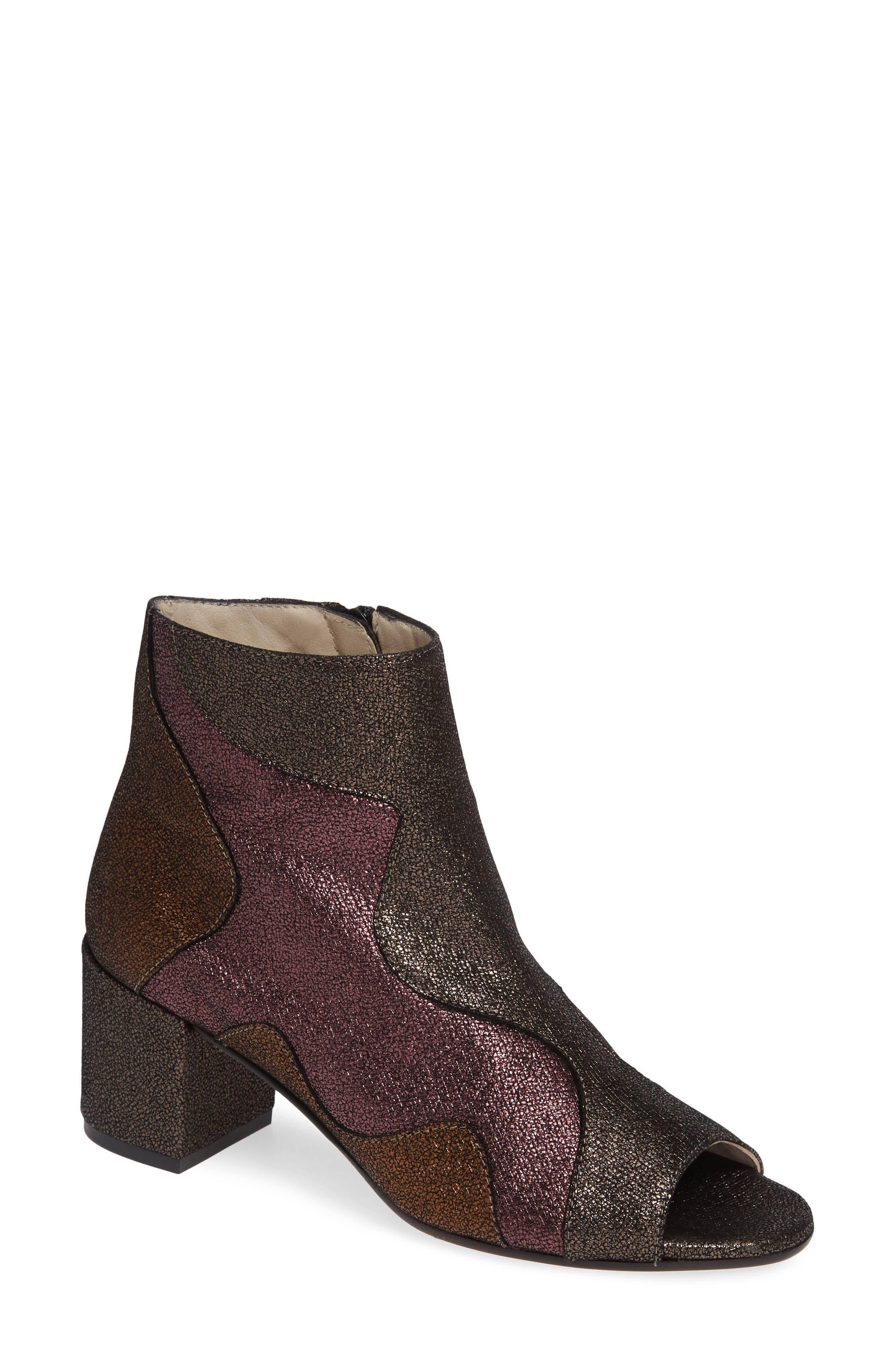 AMALFI BY RANGONI Caterina Colorblock Open Toe Bootie in Purple Leather