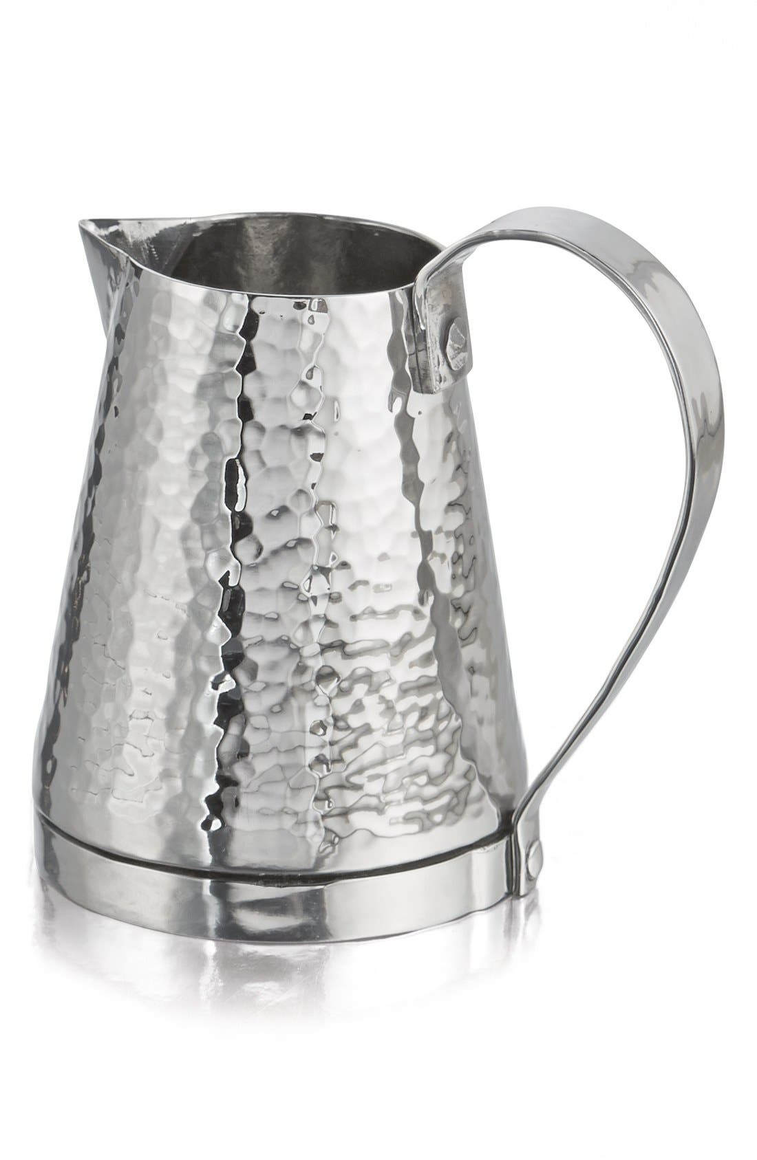 'Rivet' Hammered Stainless Steel Pitcher,                             Main thumbnail 1, color,                             040