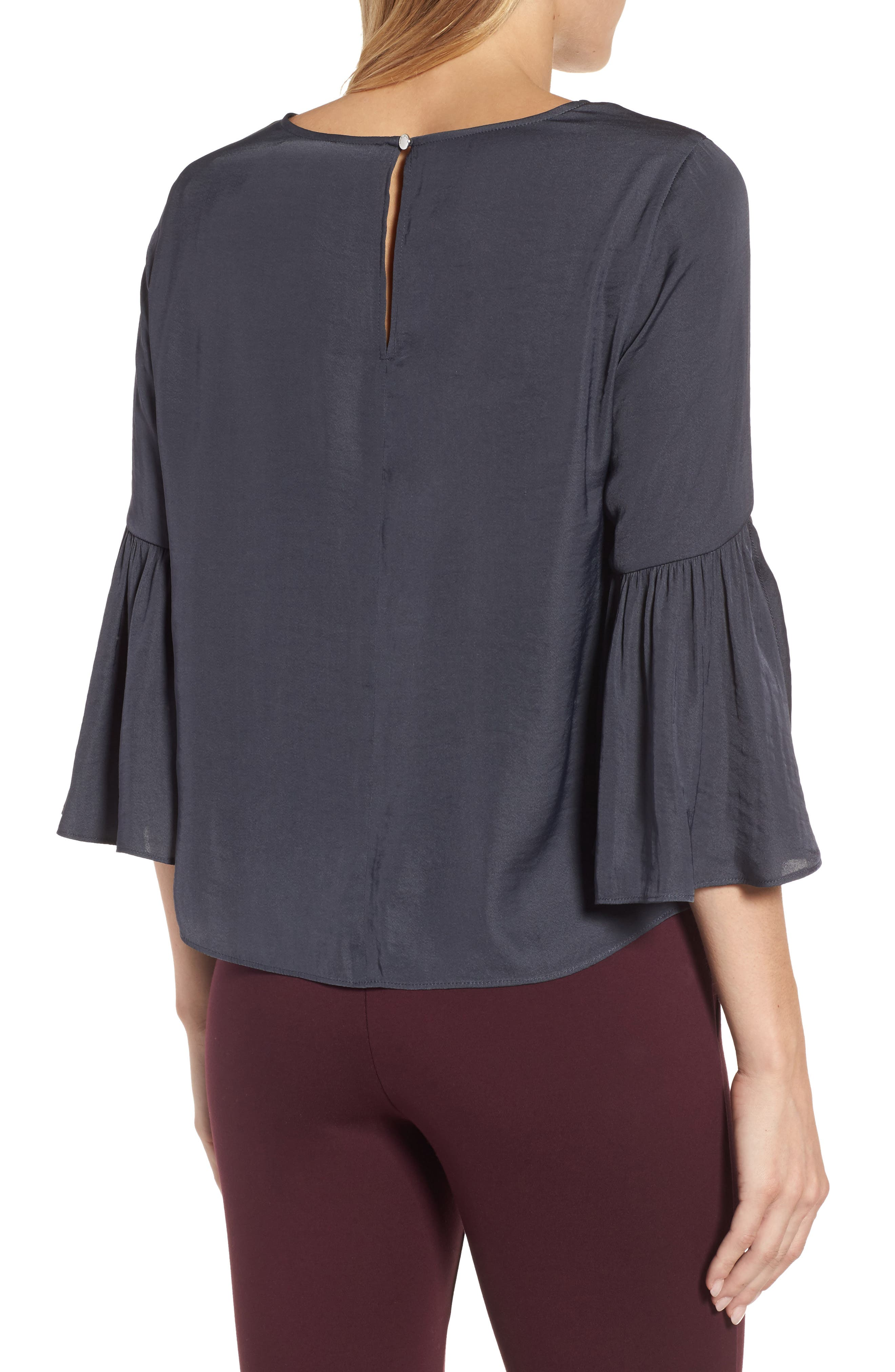 Hammer Satin Bell Sleeve Blouse,                             Alternate thumbnail 2, color,                             039