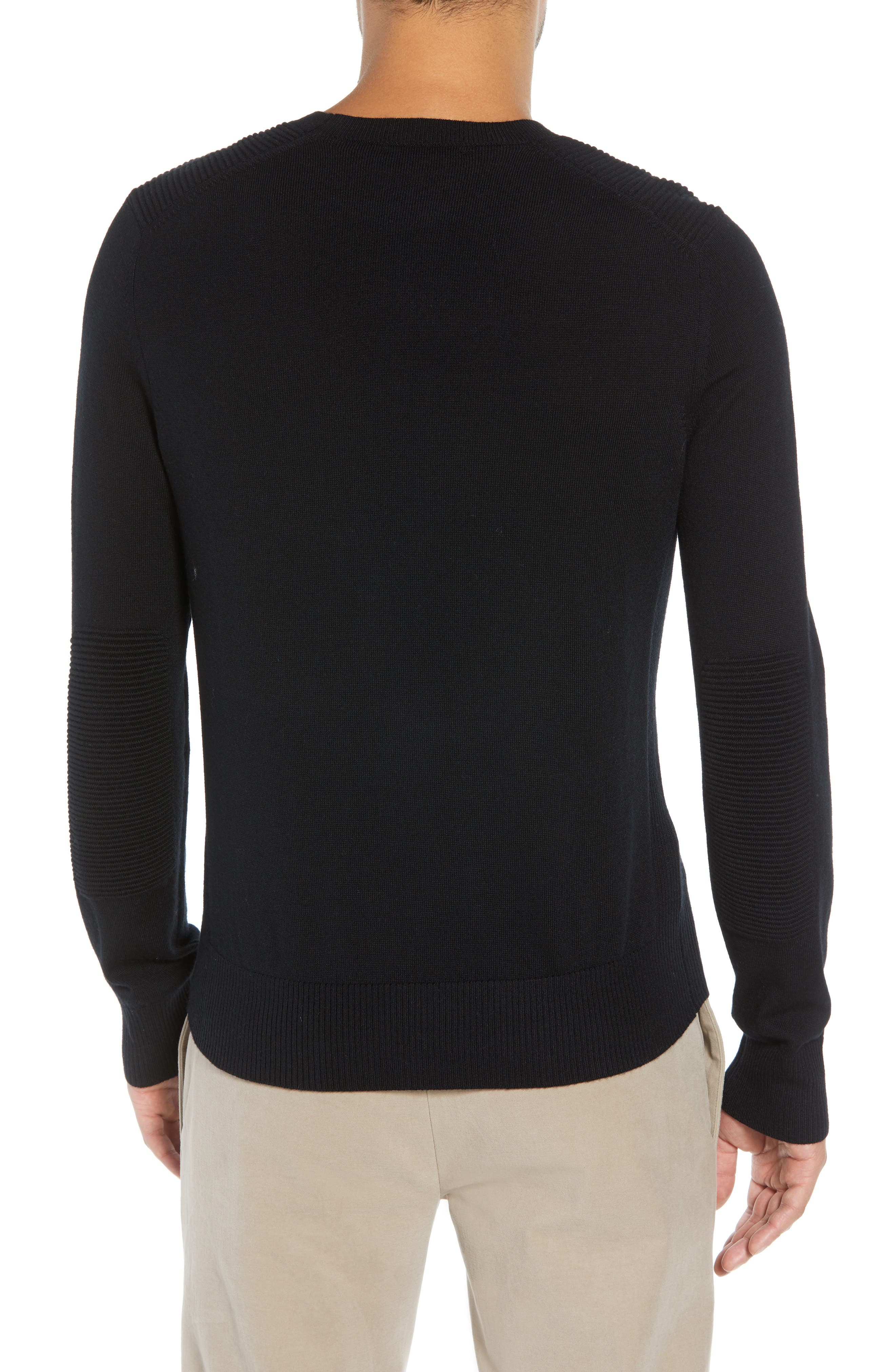Regular Fit Ottoman Stitch Wool Sweater,                             Alternate thumbnail 2, color,                             BLACK