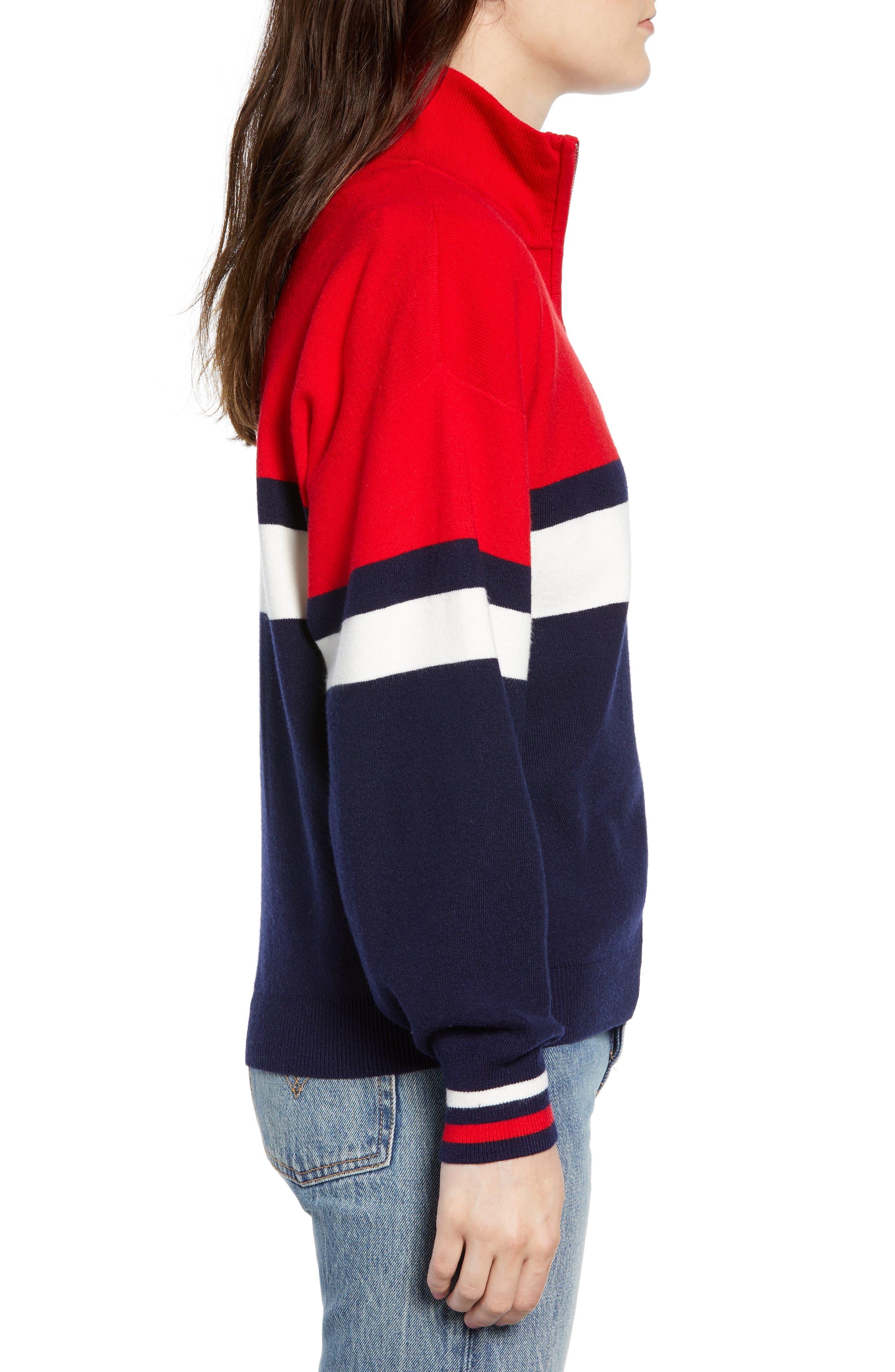 Stripe Half Zip Pullover,                             Alternate thumbnail 3, color,                             NAVY