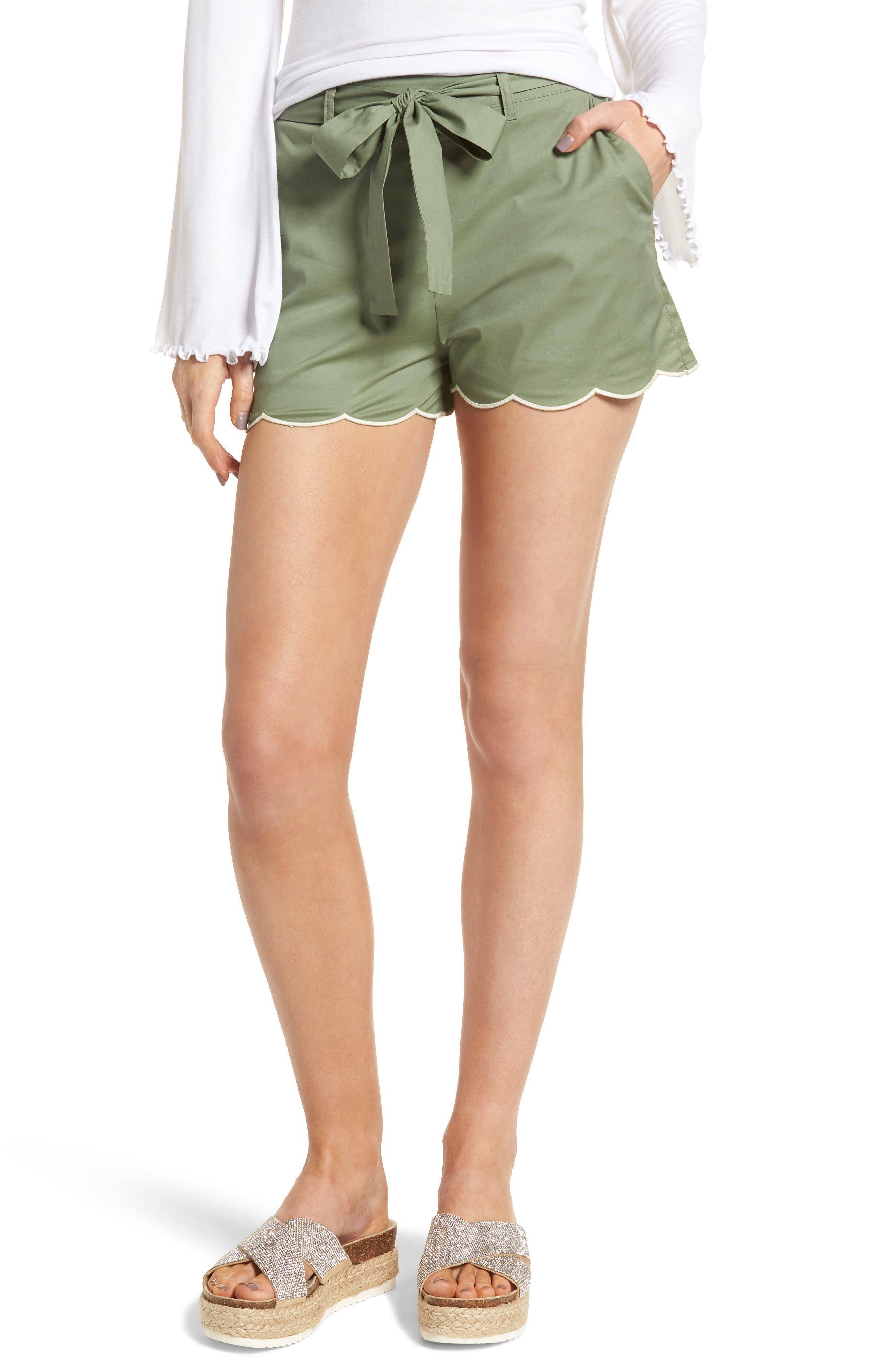 Tie Waist Scallop Hem Shorts,                             Main thumbnail 1, color,                             GREEN BRONZE