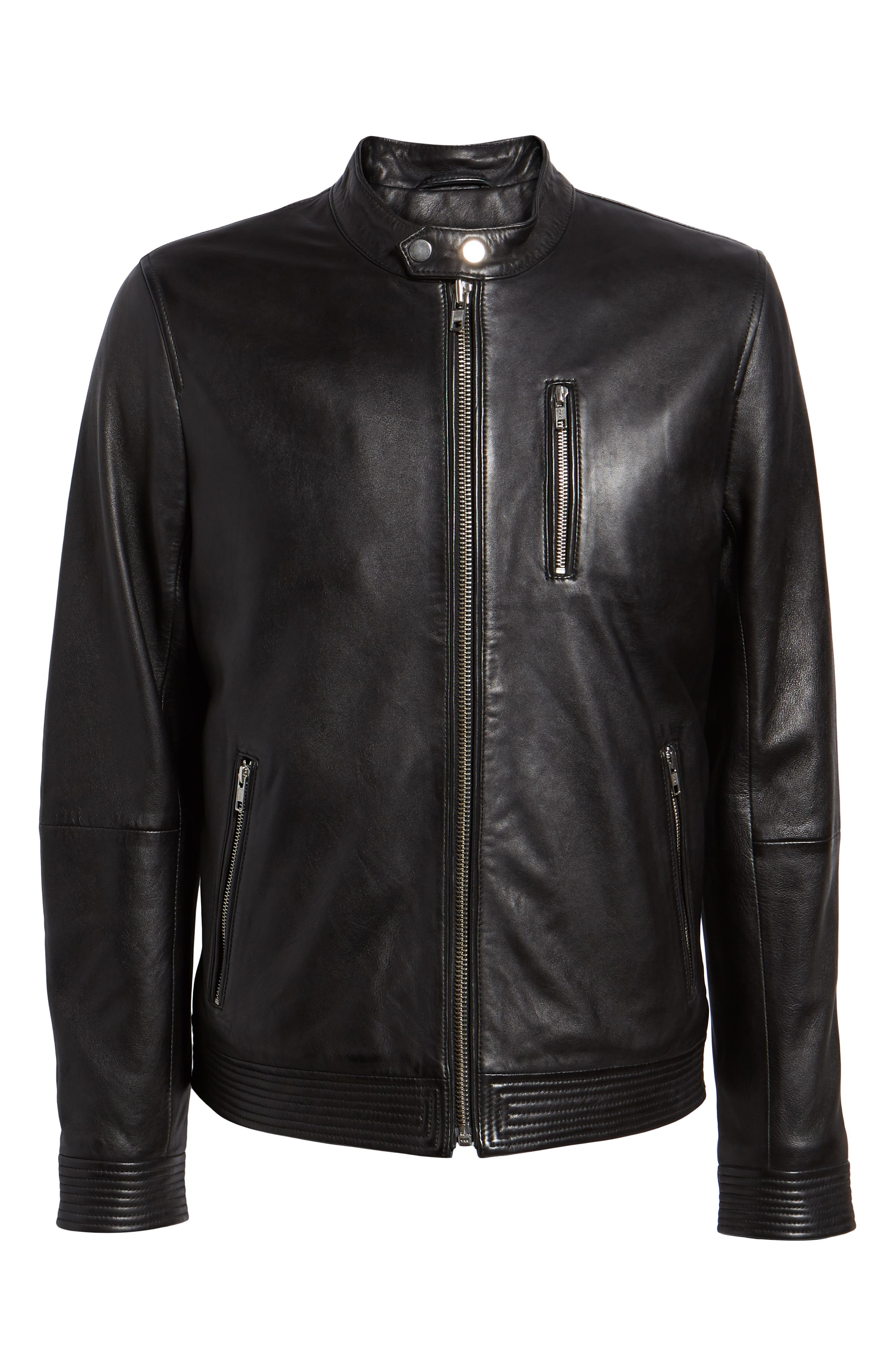 Leather Racer Jacket,                             Alternate thumbnail 5, color,                             001