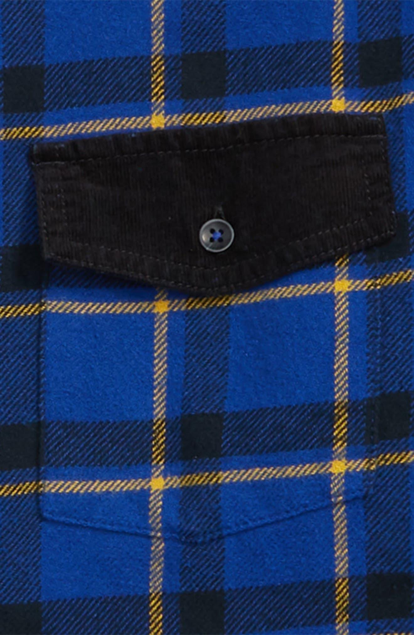 Plaid & Cord Shirt,                             Alternate thumbnail 2, color,                             BLUE MAZARINE SPACED OUT CHECK