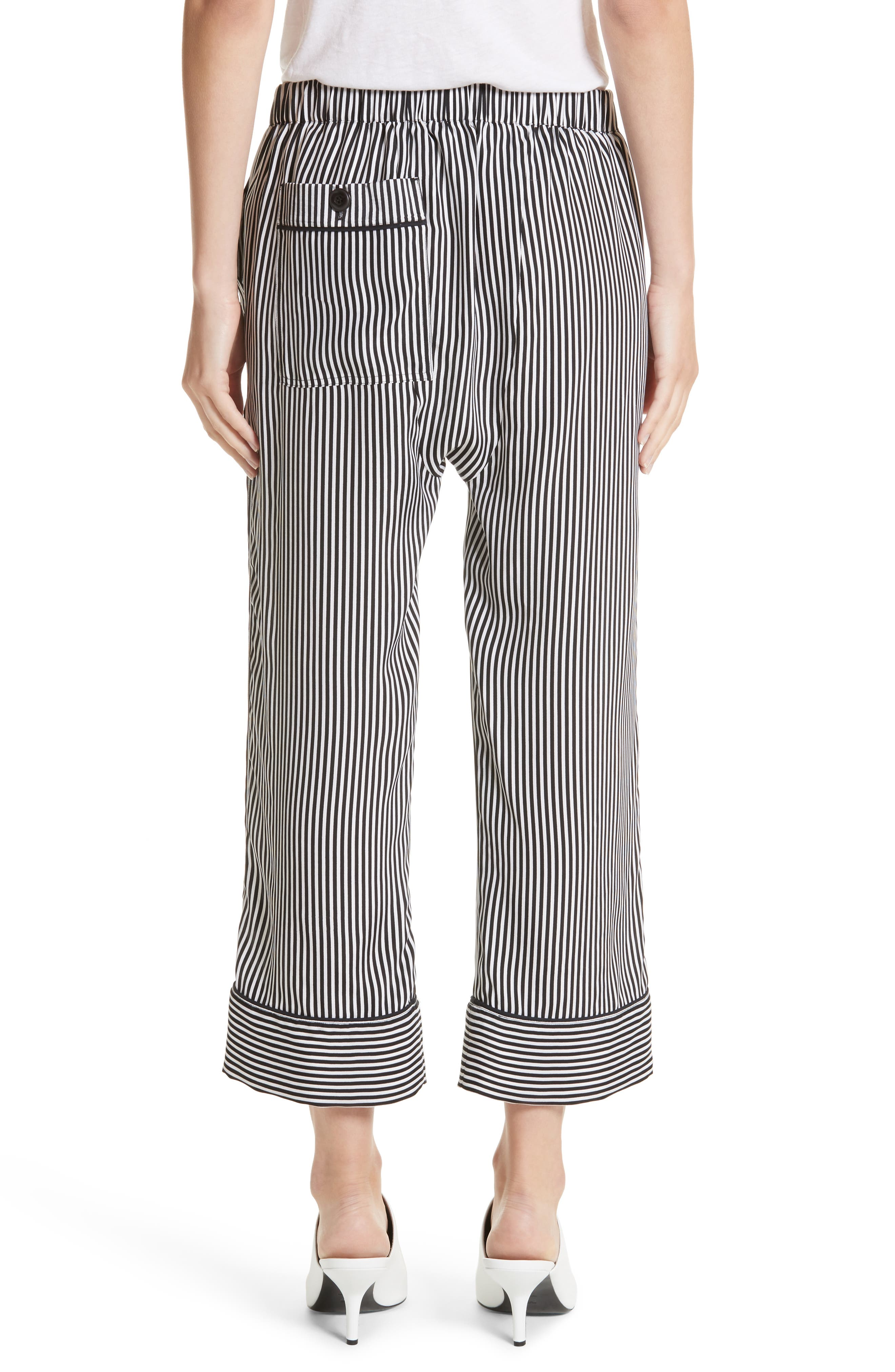 Pencil Stripe Silk Pajama Trousers,                             Alternate thumbnail 2, color,                             001