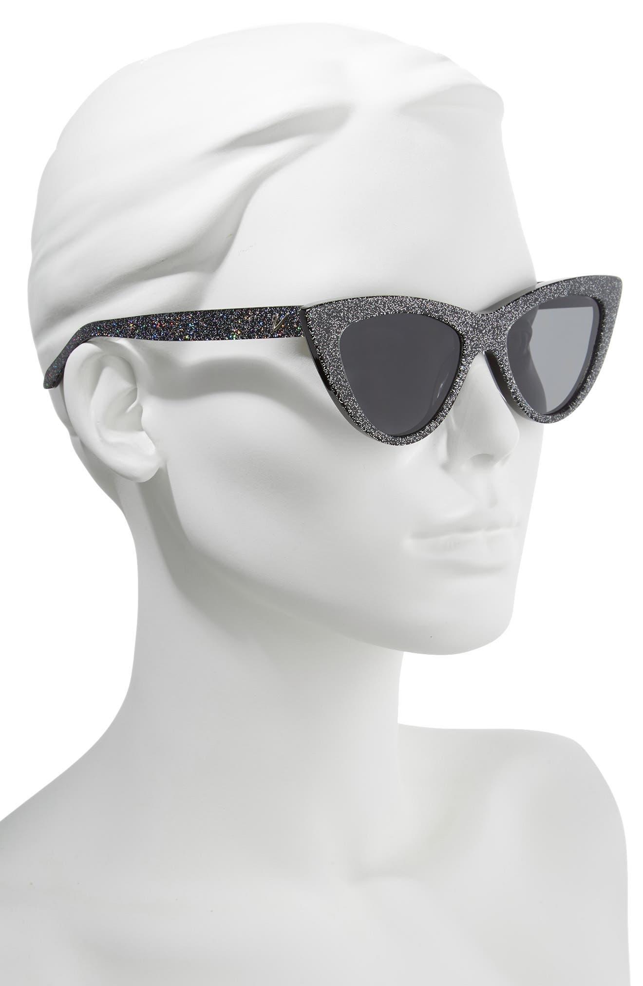 Nancy 53mm Cat Eye Sunglasses,                             Alternate thumbnail 2, color,                             MULTI GLITTER/ SMOKE
