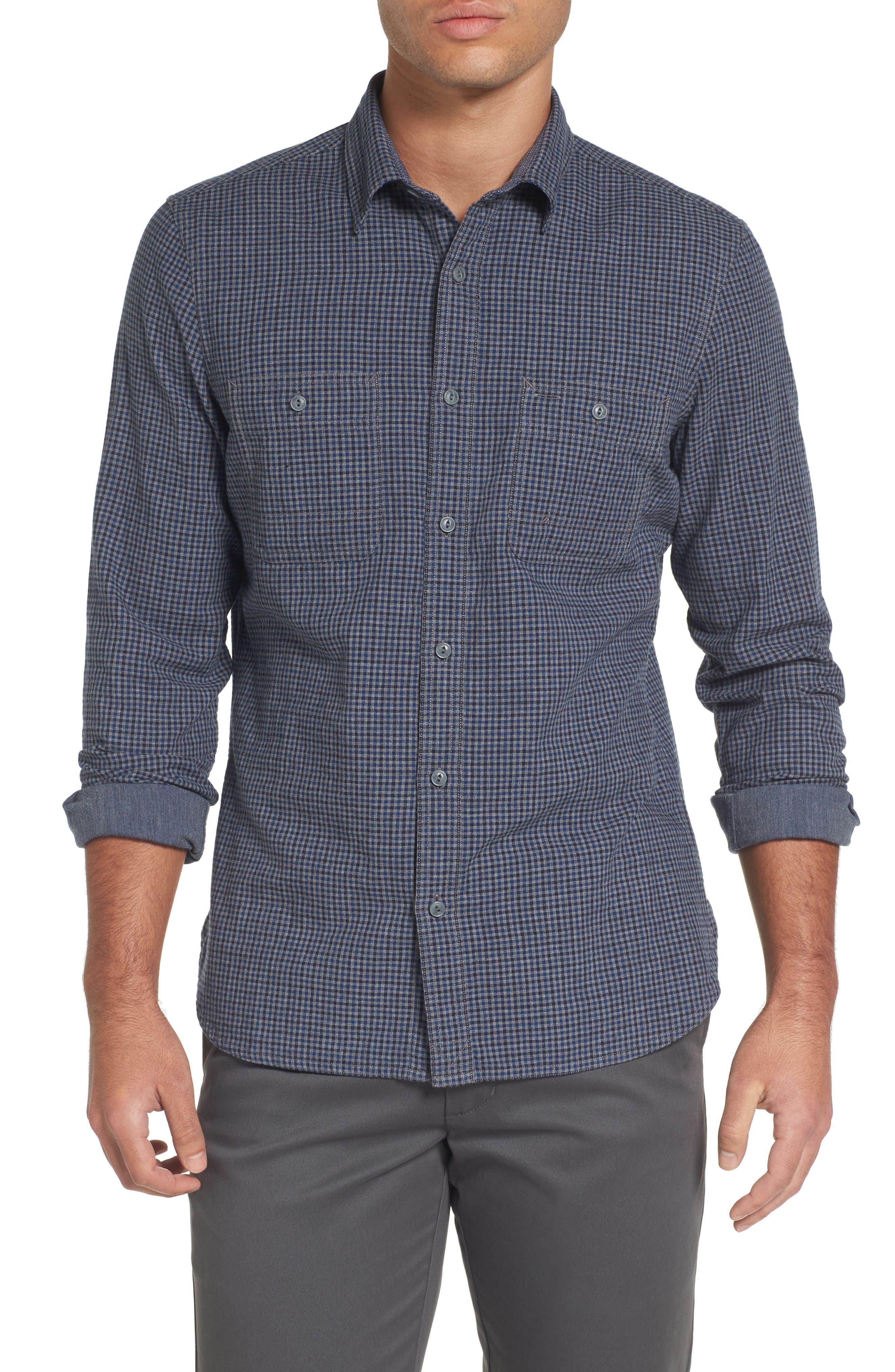 Slim Fit Micro Check Sport Shirt,                         Main,                         color, 021