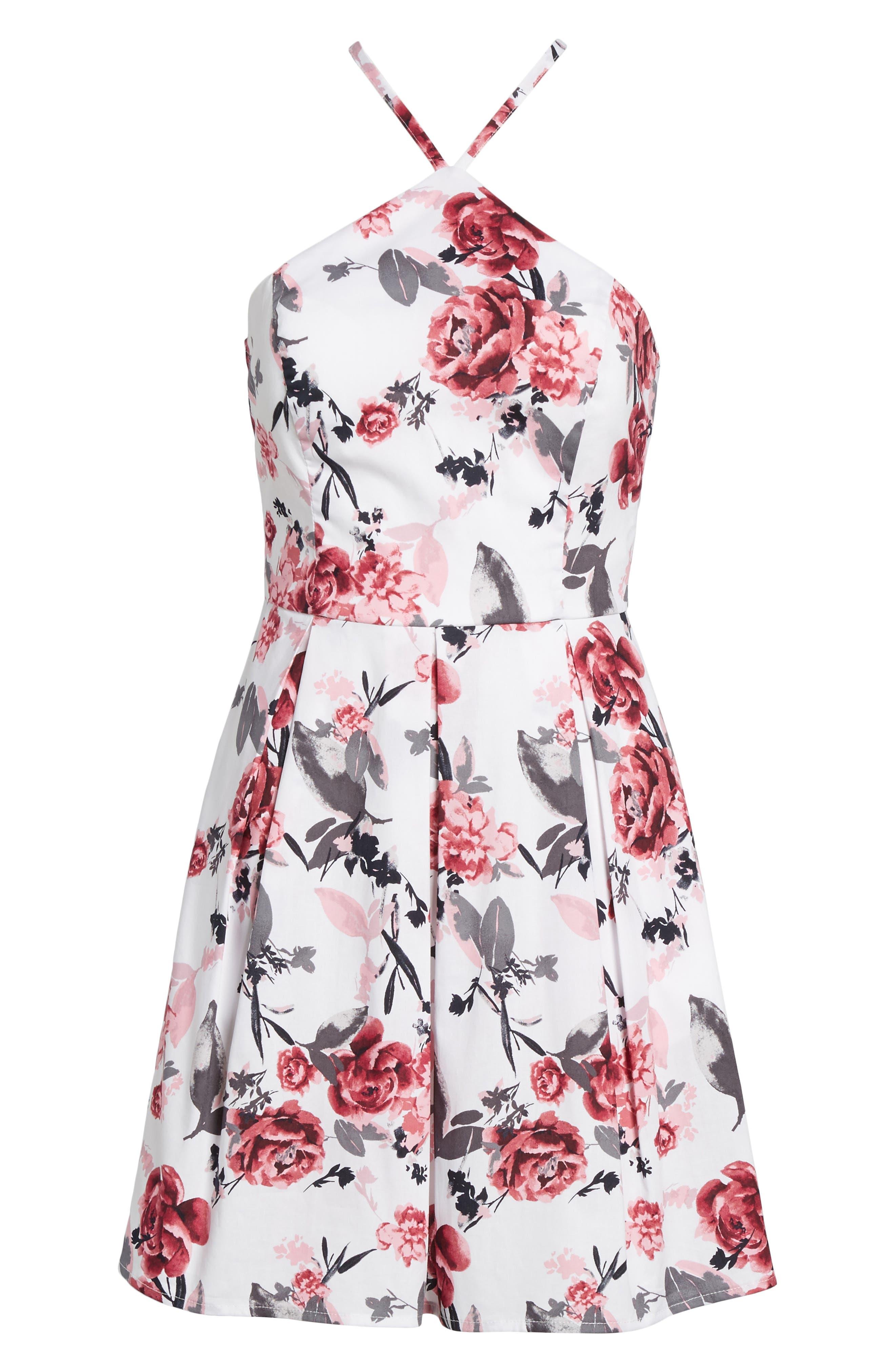 Halter Fit & Flare Dress,                             Alternate thumbnail 6, color,                             001