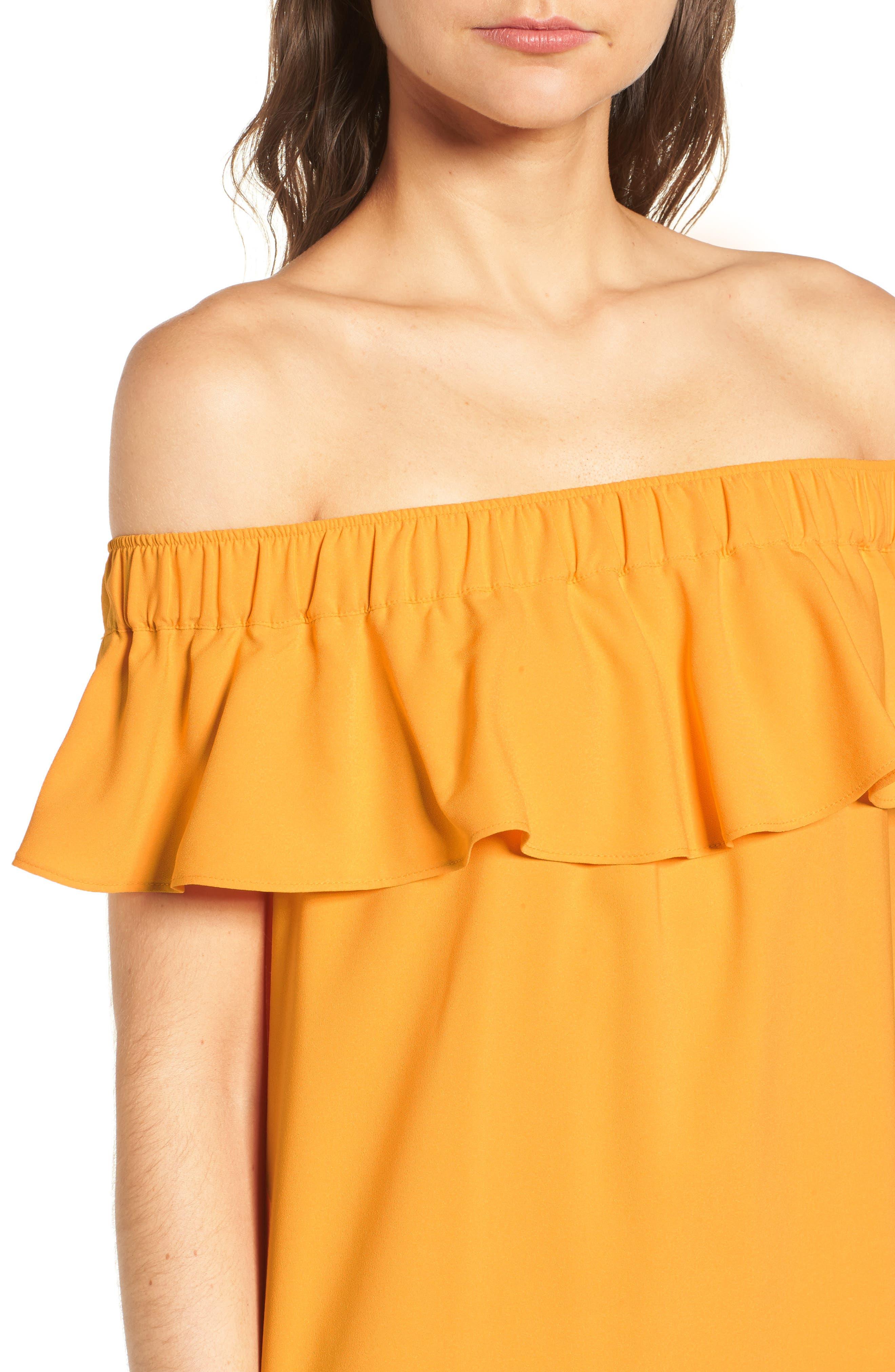 Off the Shoulder Crepe Dress,                             Alternate thumbnail 17, color,