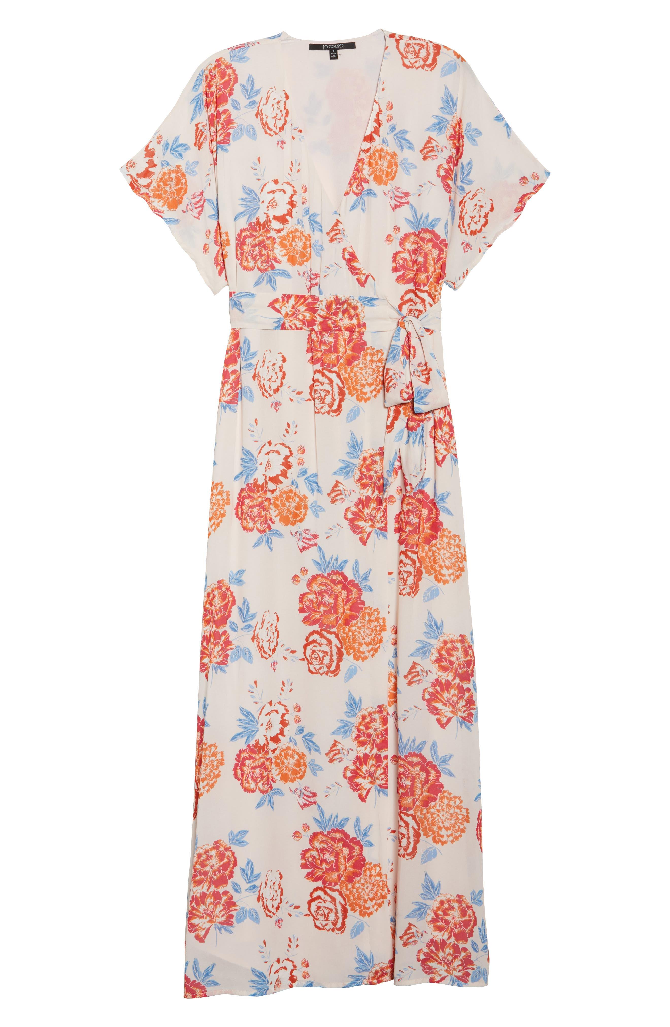 Floral Tie Waist Maxi Dress,                             Alternate thumbnail 7, color,                             950