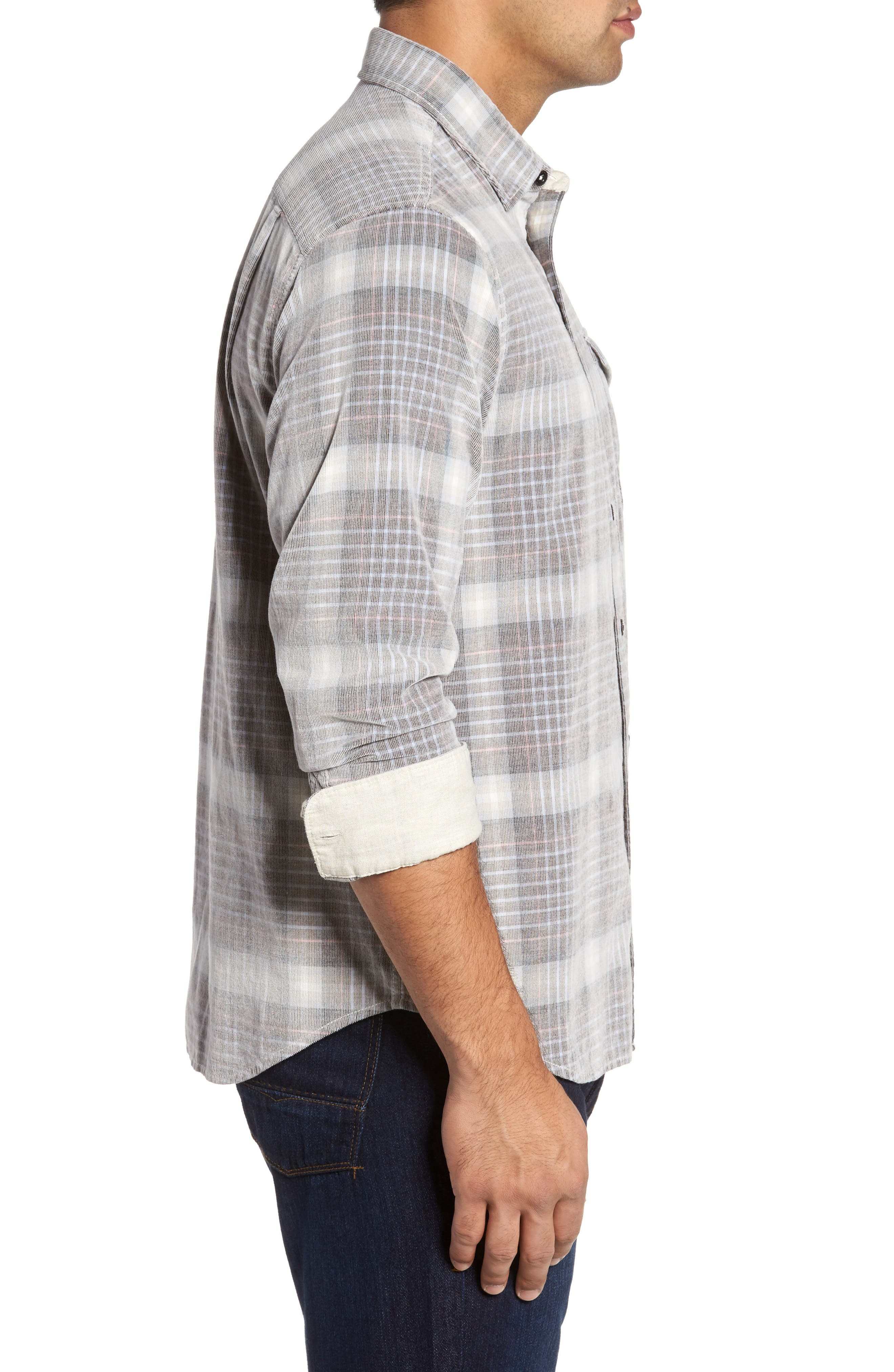 Standard Fit Plaid Sport Shirt,                             Alternate thumbnail 3, color,                             200