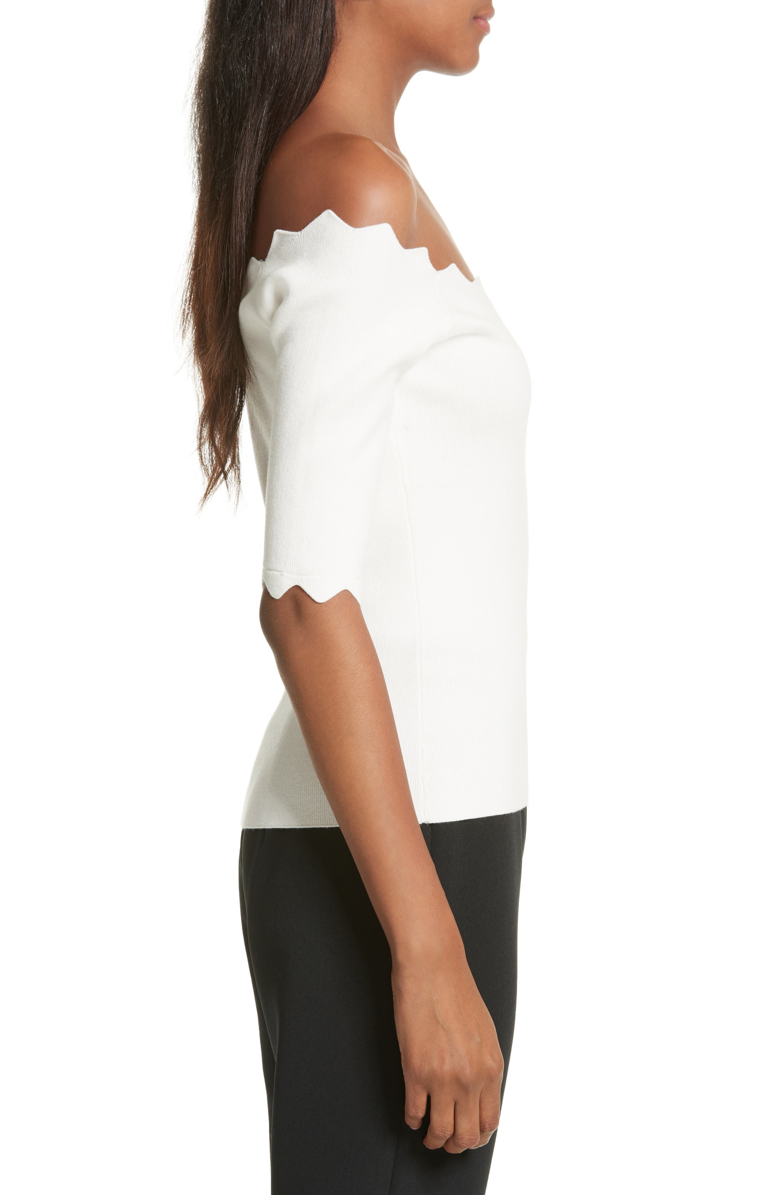 Scalloped Off the Shoulder Sweater,                             Alternate thumbnail 3, color,                             150