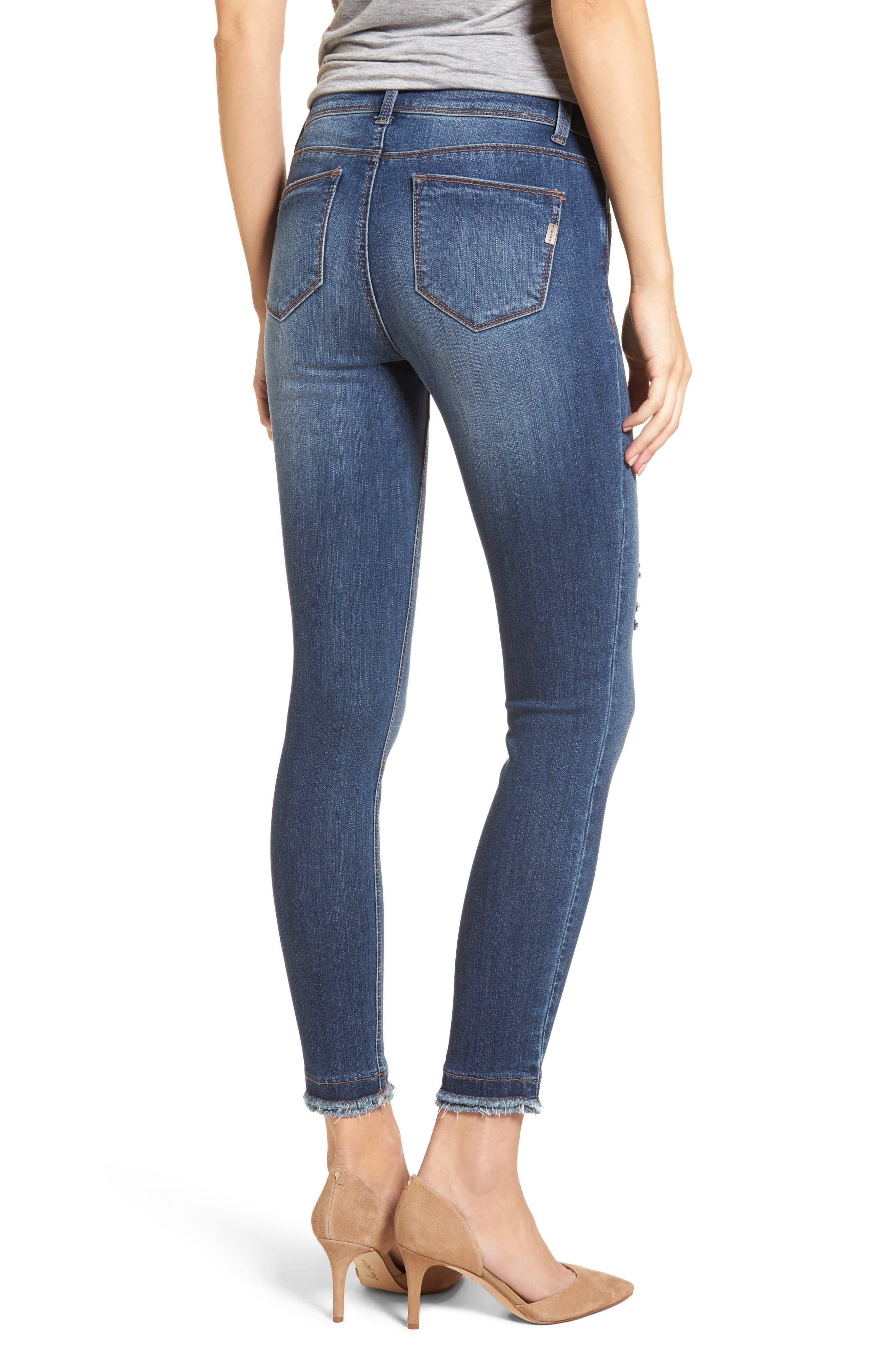 Double Fray Hem Skinny Jeans,                             Alternate thumbnail 2, color,                             420