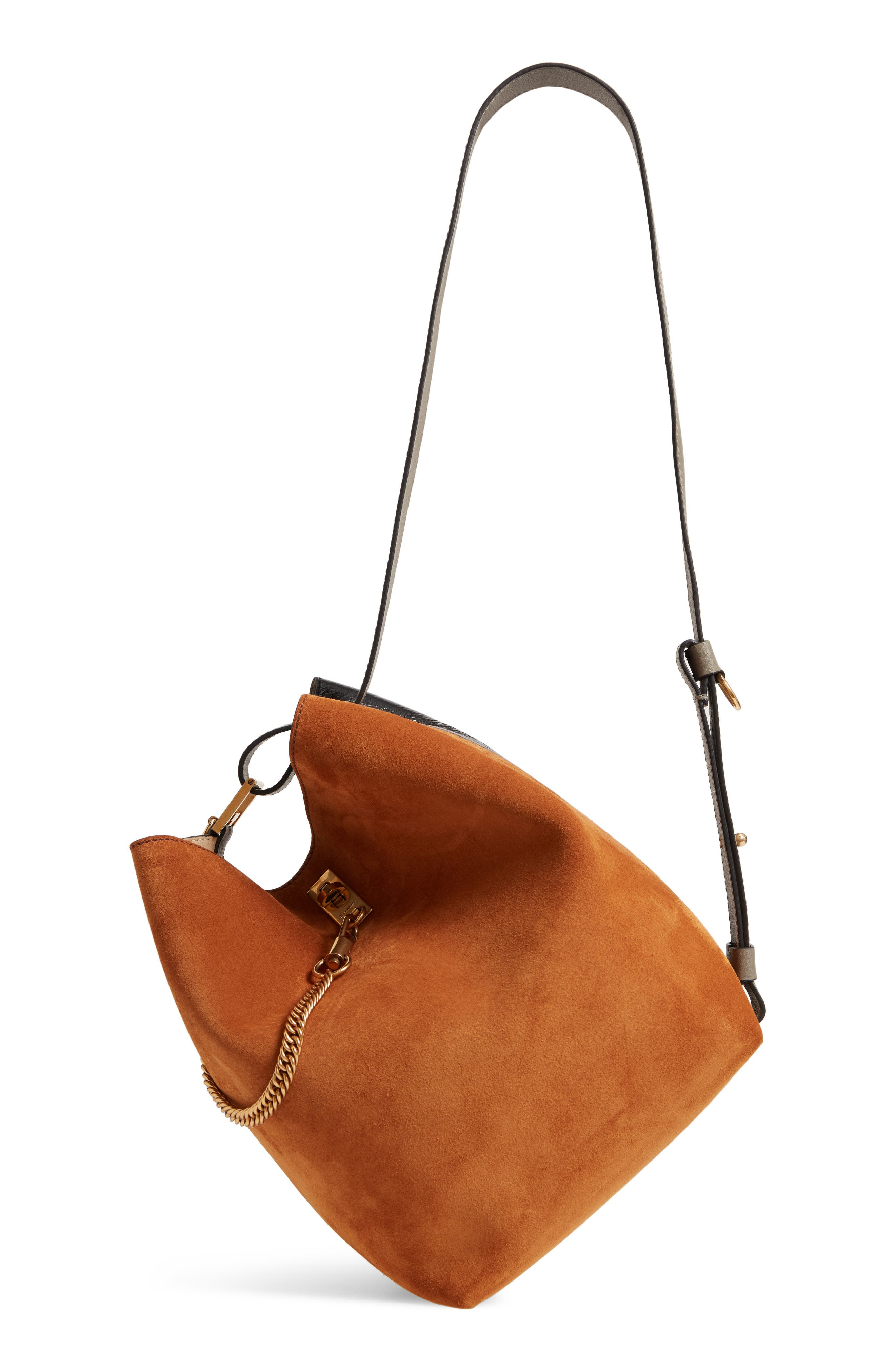 Medium GV Lambskin Bucket Bag,                             Alternate thumbnail 3, color,                             BLACK/ CHESTNUT