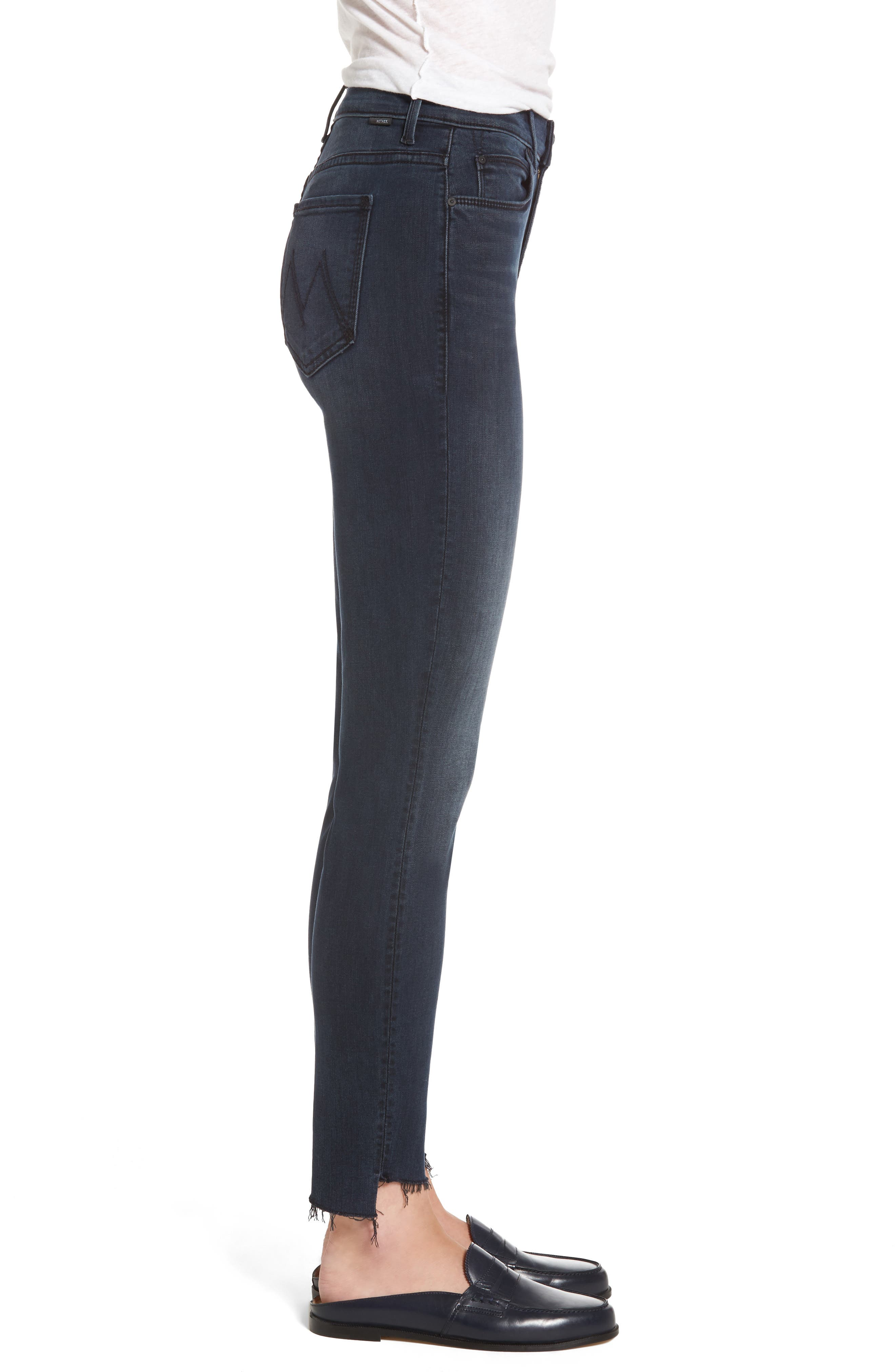 The Stunner High Waist Frayed Step Hem Jeans,                             Alternate thumbnail 3, color,