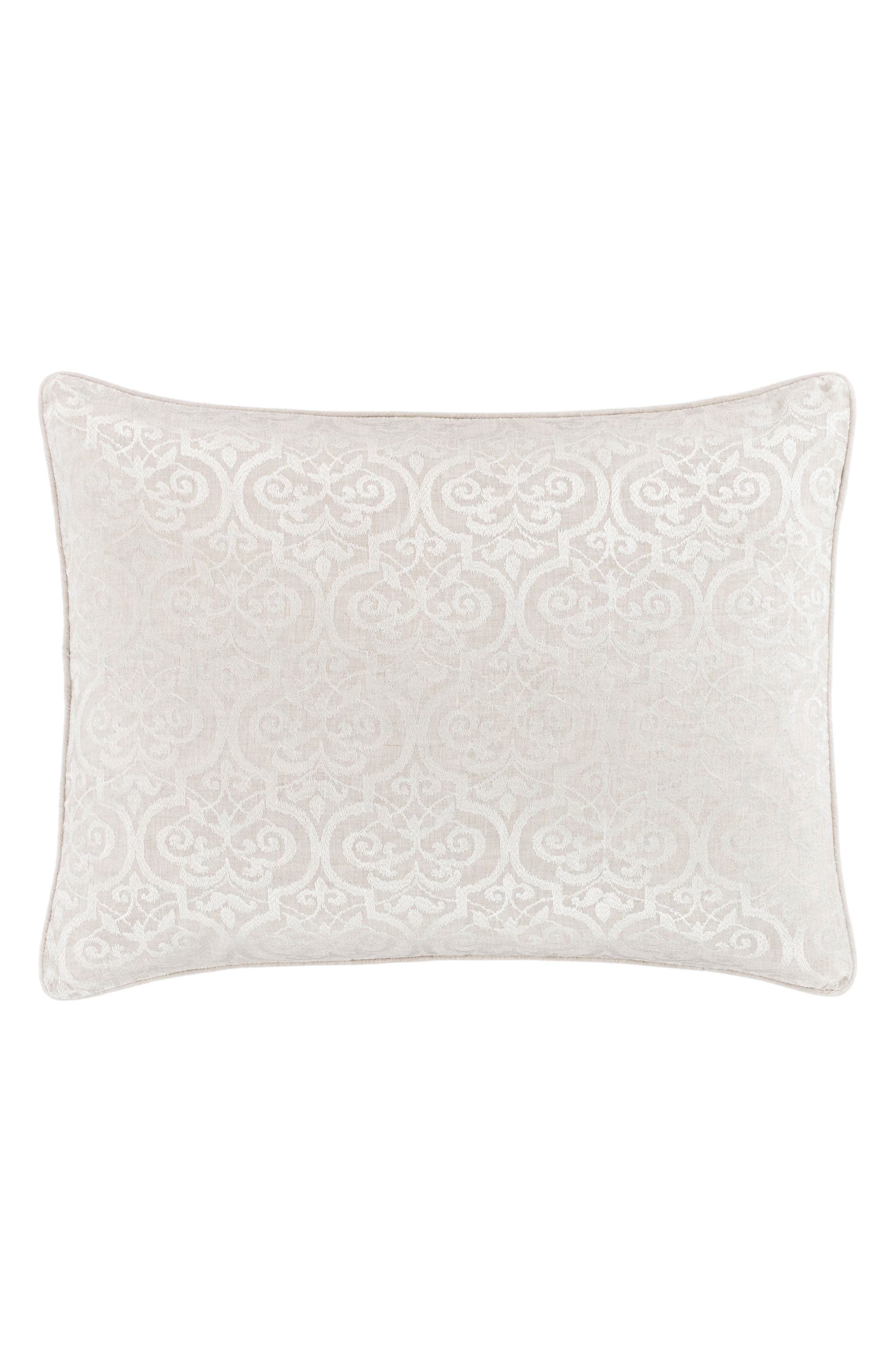 Gwendolyn Embroidered Linen Sham,                             Main thumbnail 1, color,                             100