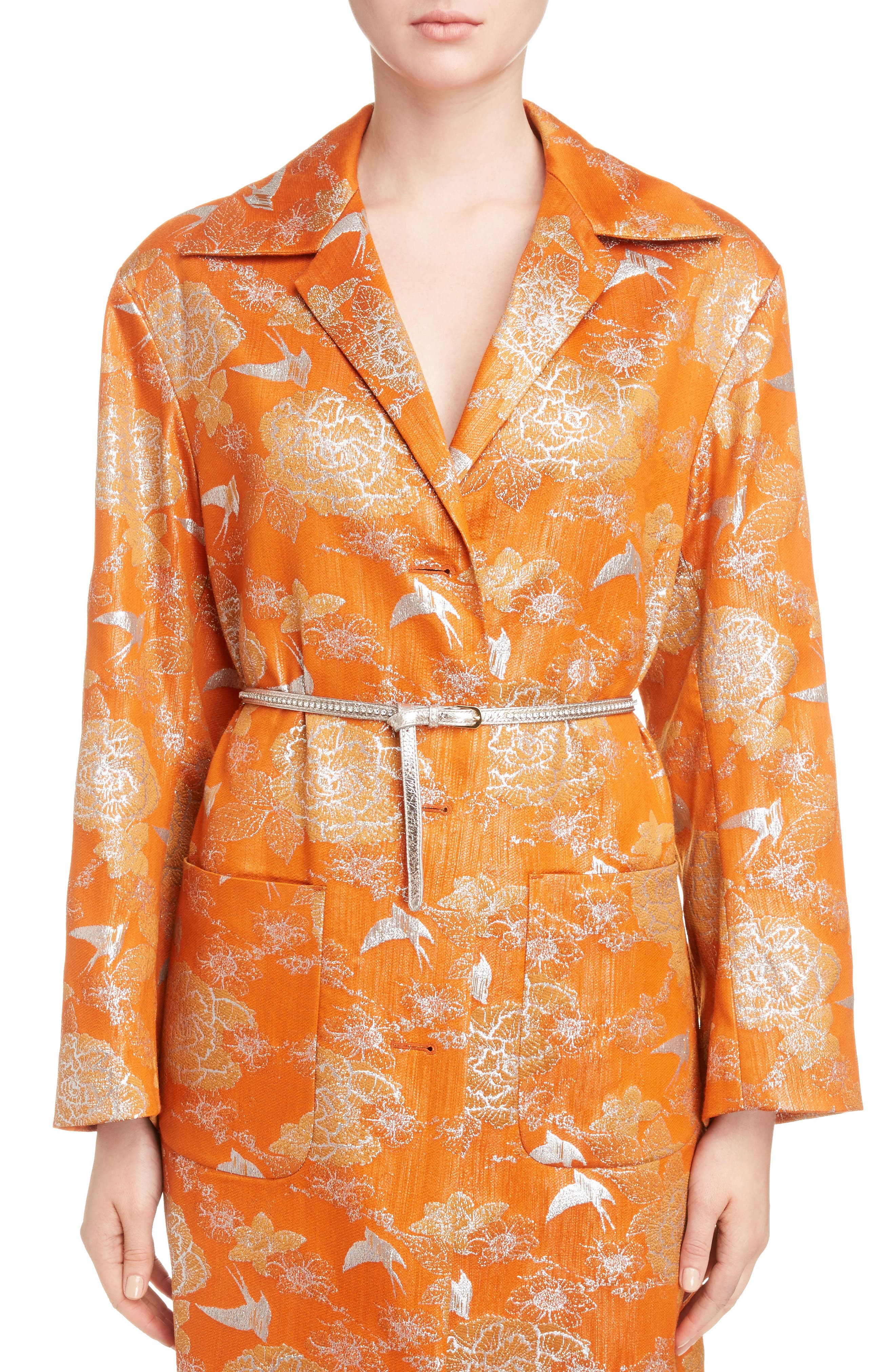 Silver Bird Jacquard Coat,                             Alternate thumbnail 6, color,                             800