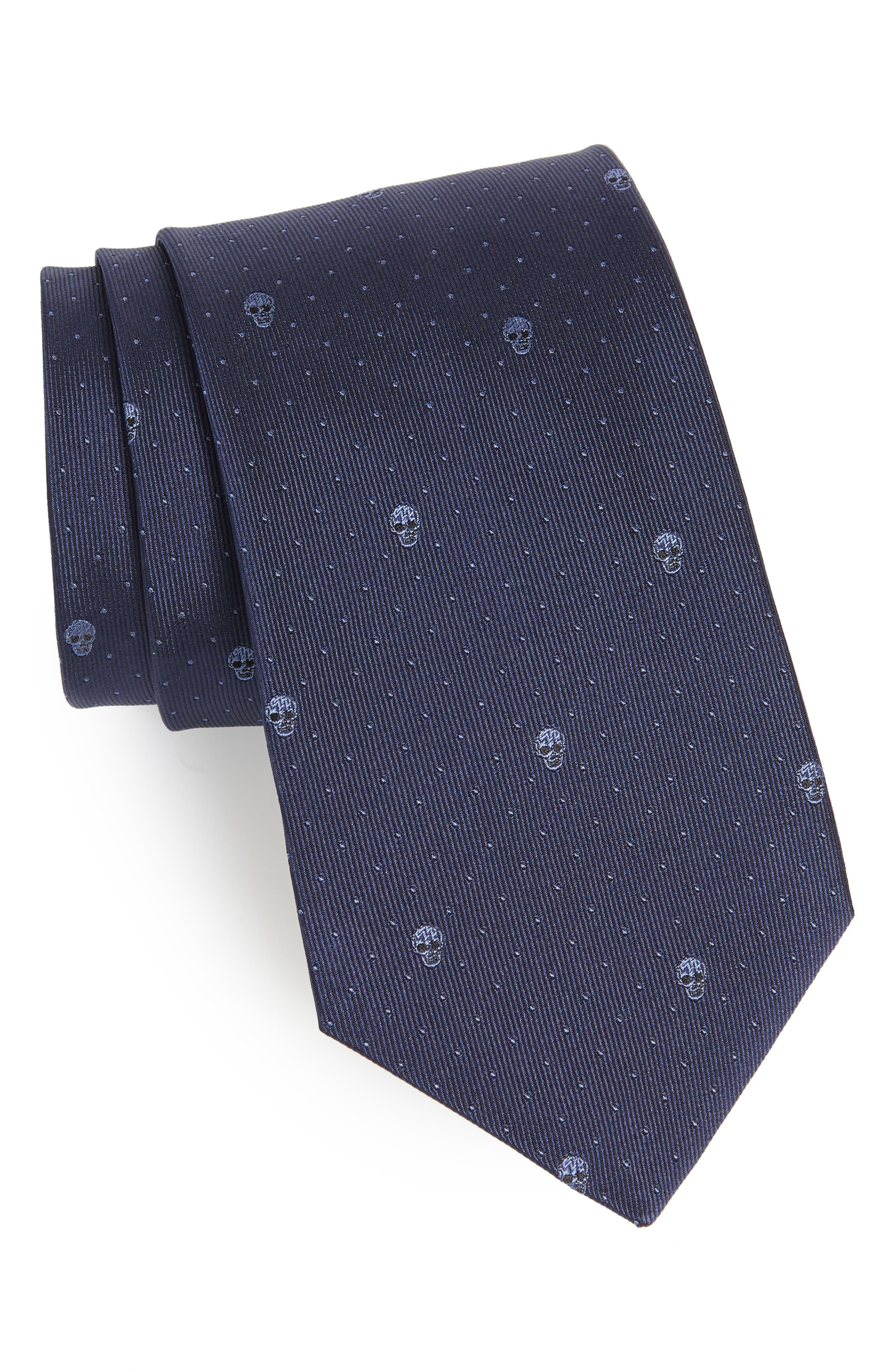 Skull Dot Silk Tie,                             Main thumbnail 2, color,