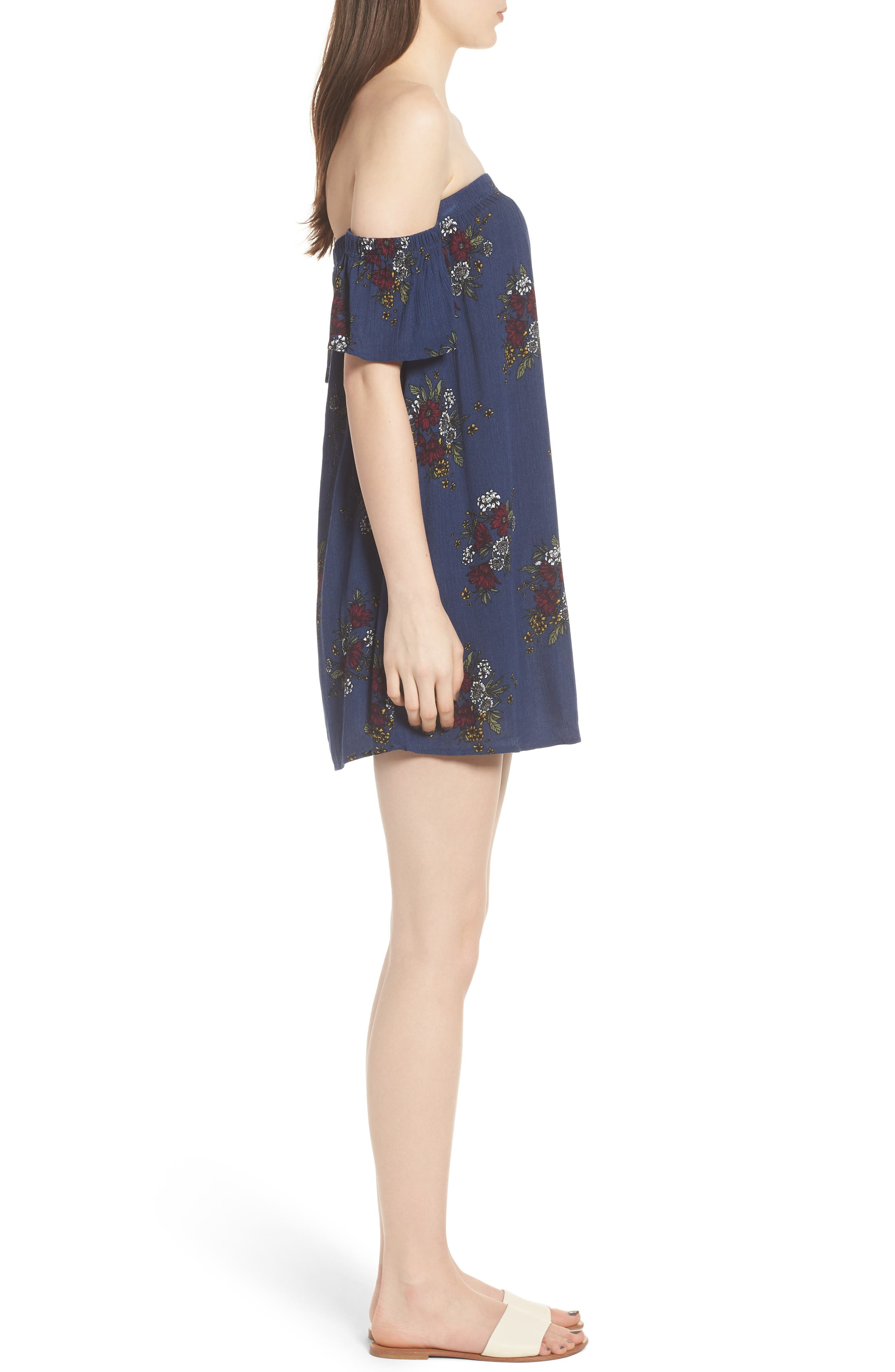 Road to Indio Print Off the Shoulder Dress,                             Alternate thumbnail 3, color,                             401