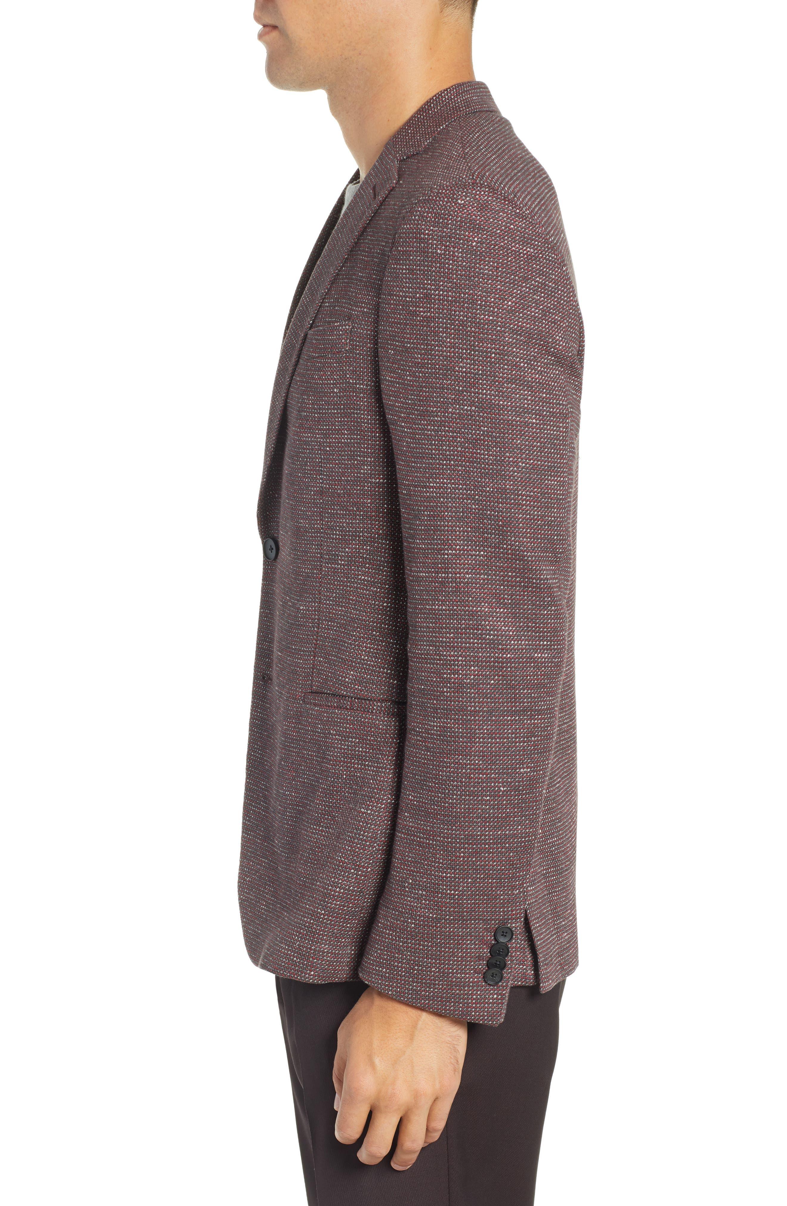 Norwin Trim Fit Cotton Blend Sport Coat,                             Alternate thumbnail 3, color,                             DARK RED