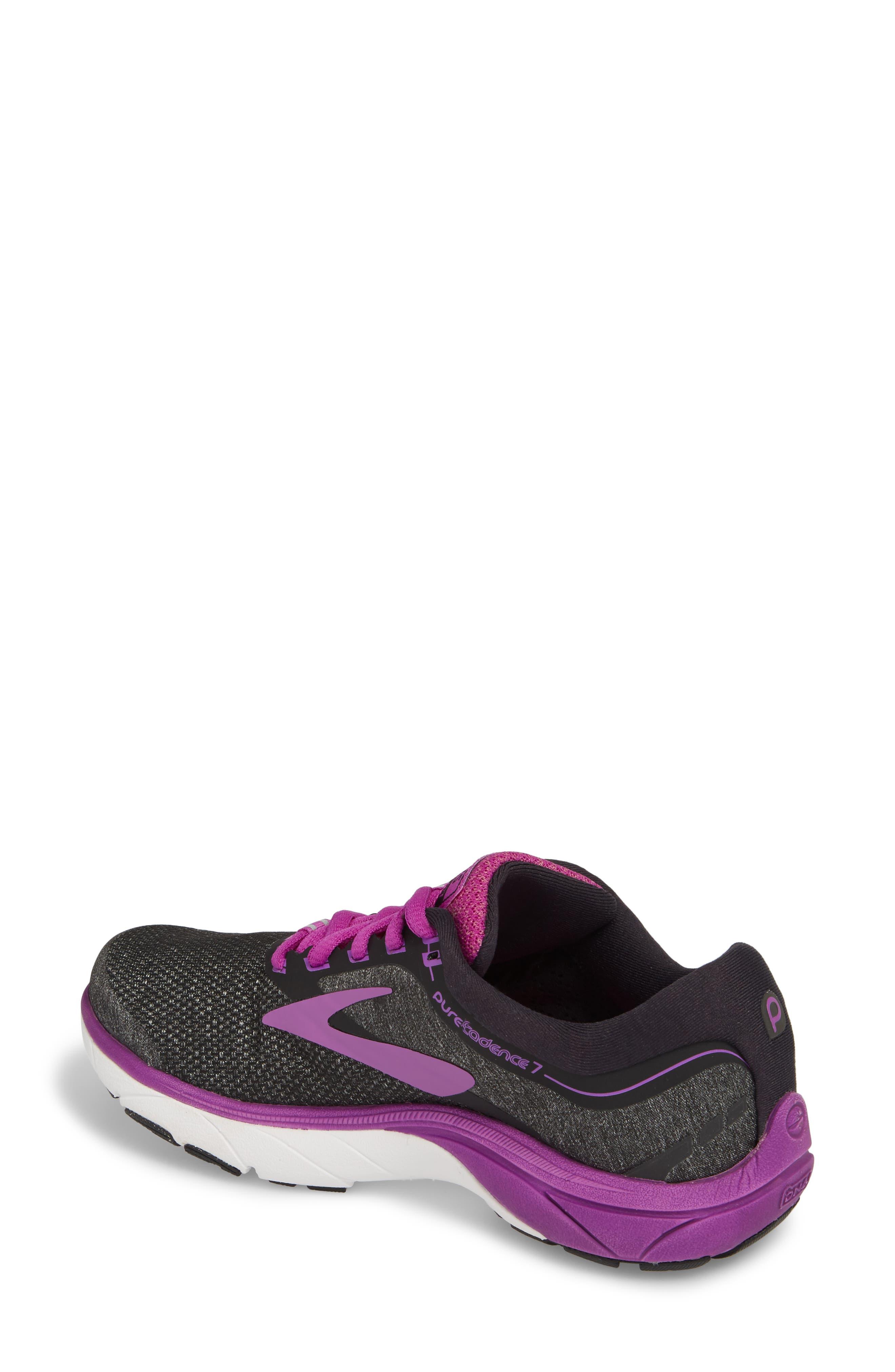 PureCadence 7 Road Running Shoe,                             Alternate thumbnail 2, color,                             BLACK/ PURPLE/ MULTI