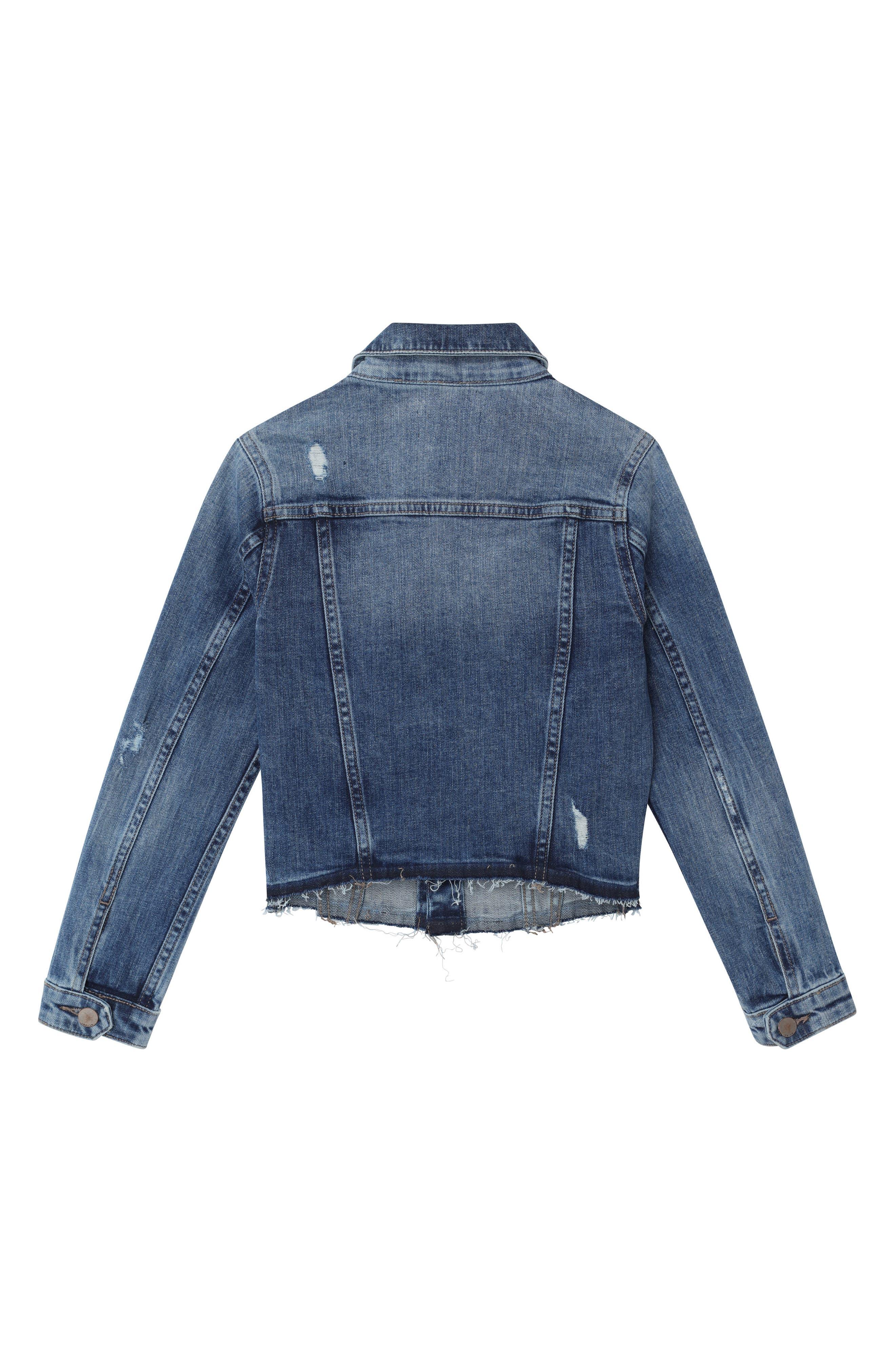 Distressed Denim Jacket,                             Alternate thumbnail 2, color,                             CLOUD