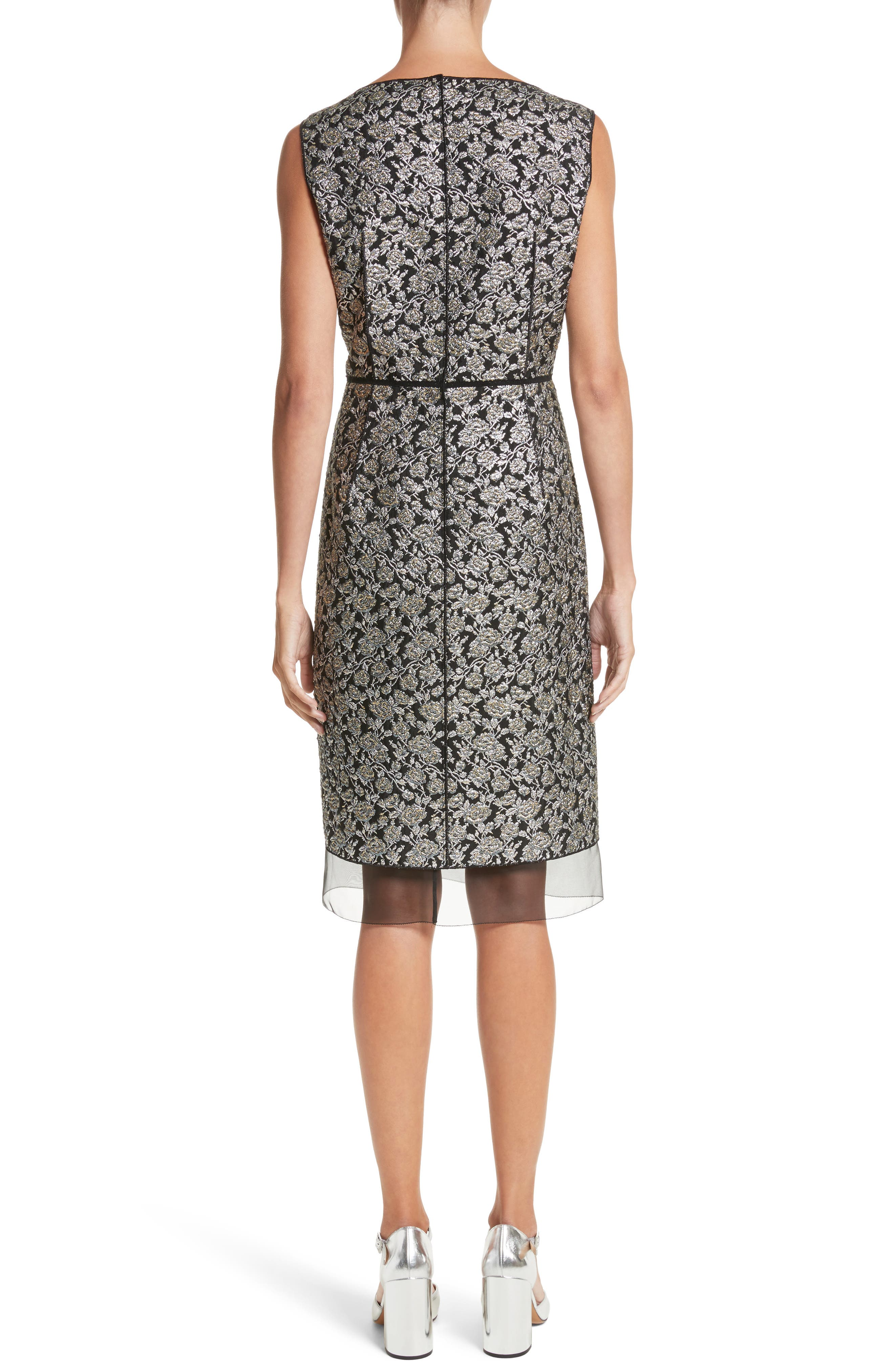 Metallic Jacquard Sheath Dress,                             Alternate thumbnail 2, color,