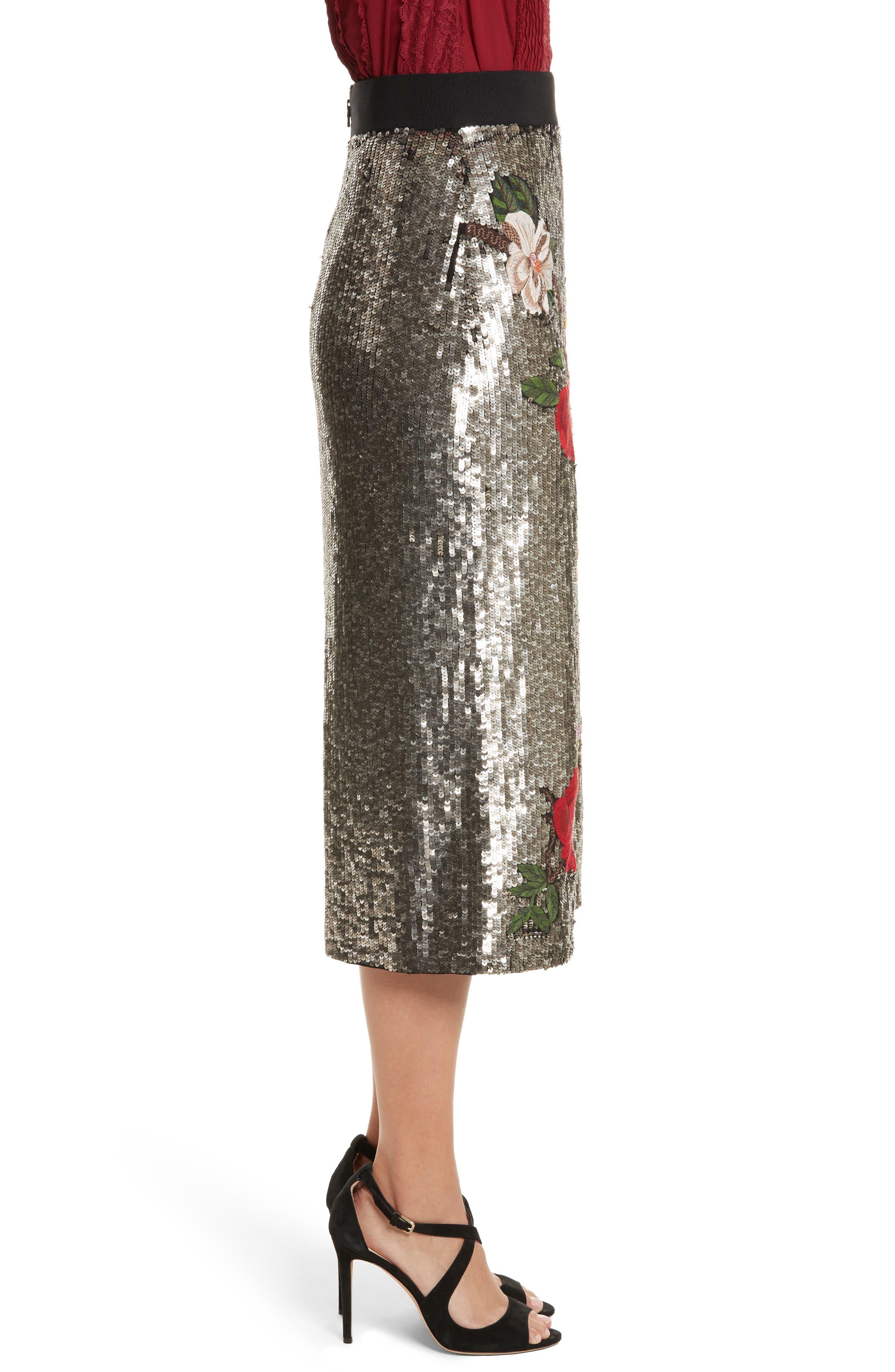 Ella Embellished Midi Skirt,                             Alternate thumbnail 3, color,                             047