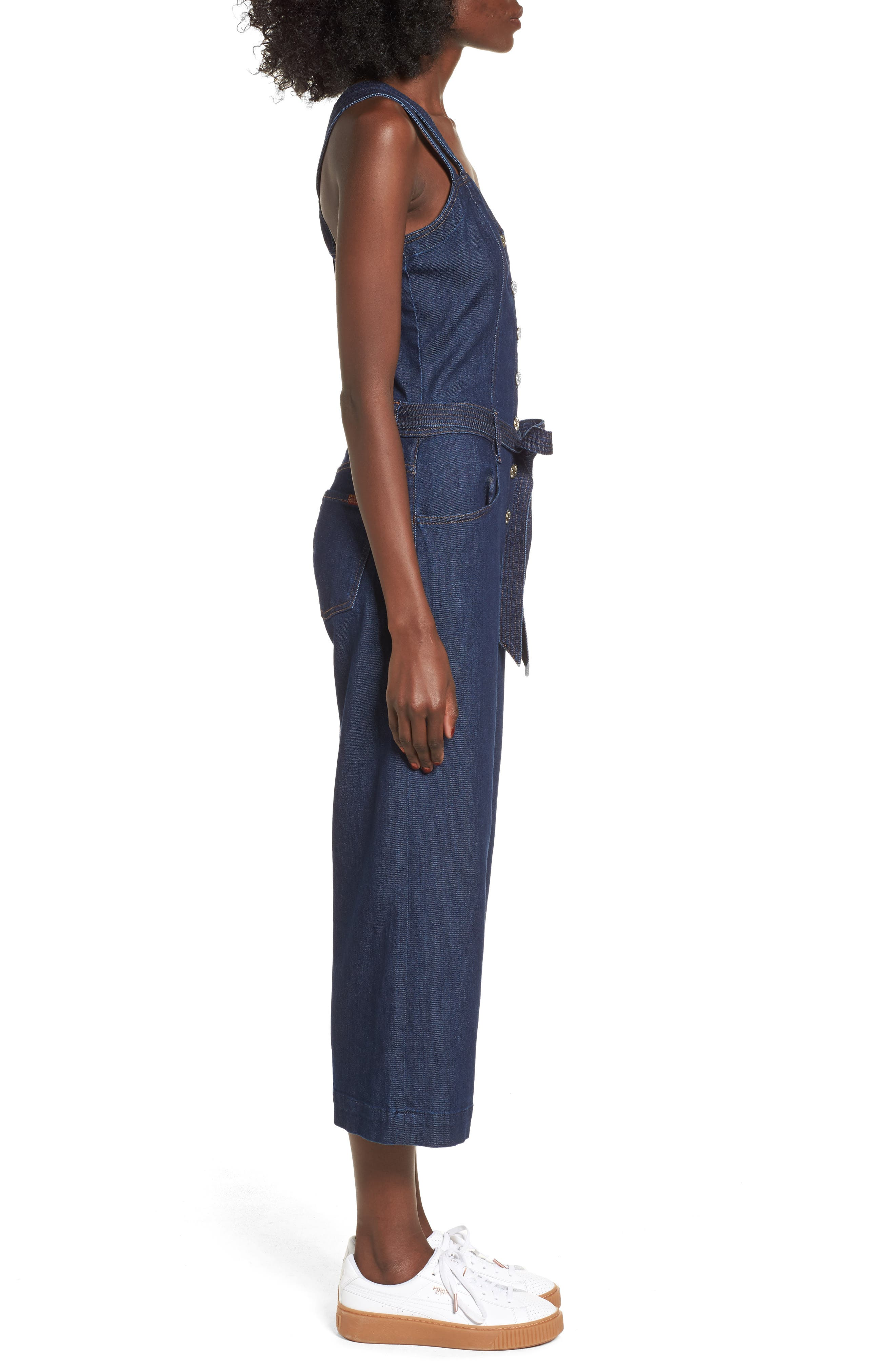 Denim Jumpsuit,                             Alternate thumbnail 3, color,                             400
