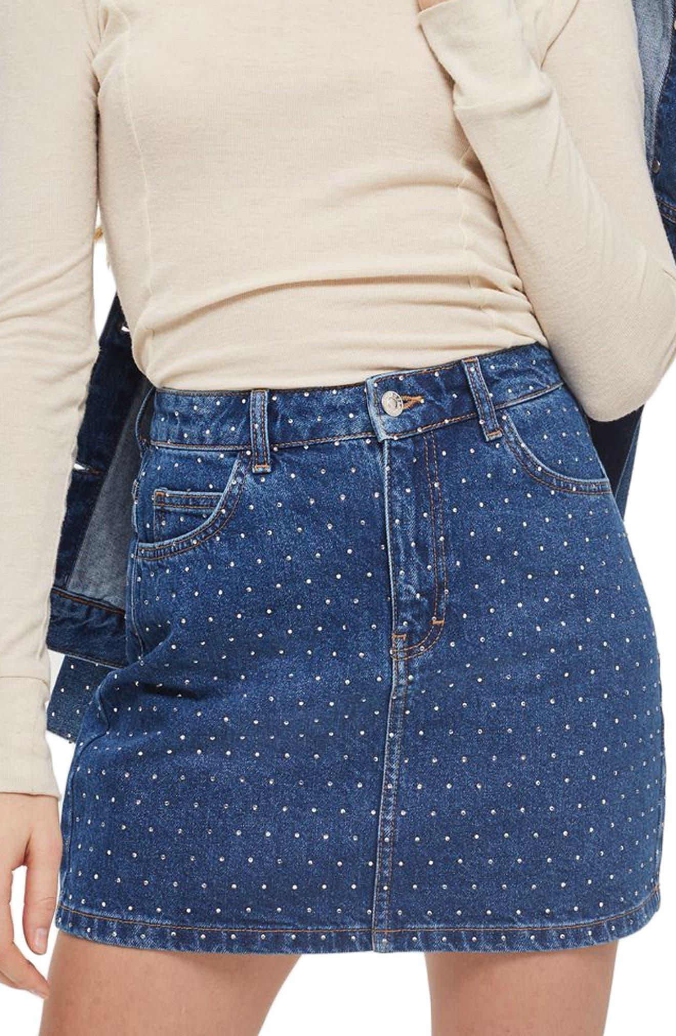 Crystal Studded Denim Miniskirt,                             Main thumbnail 1, color,                             400