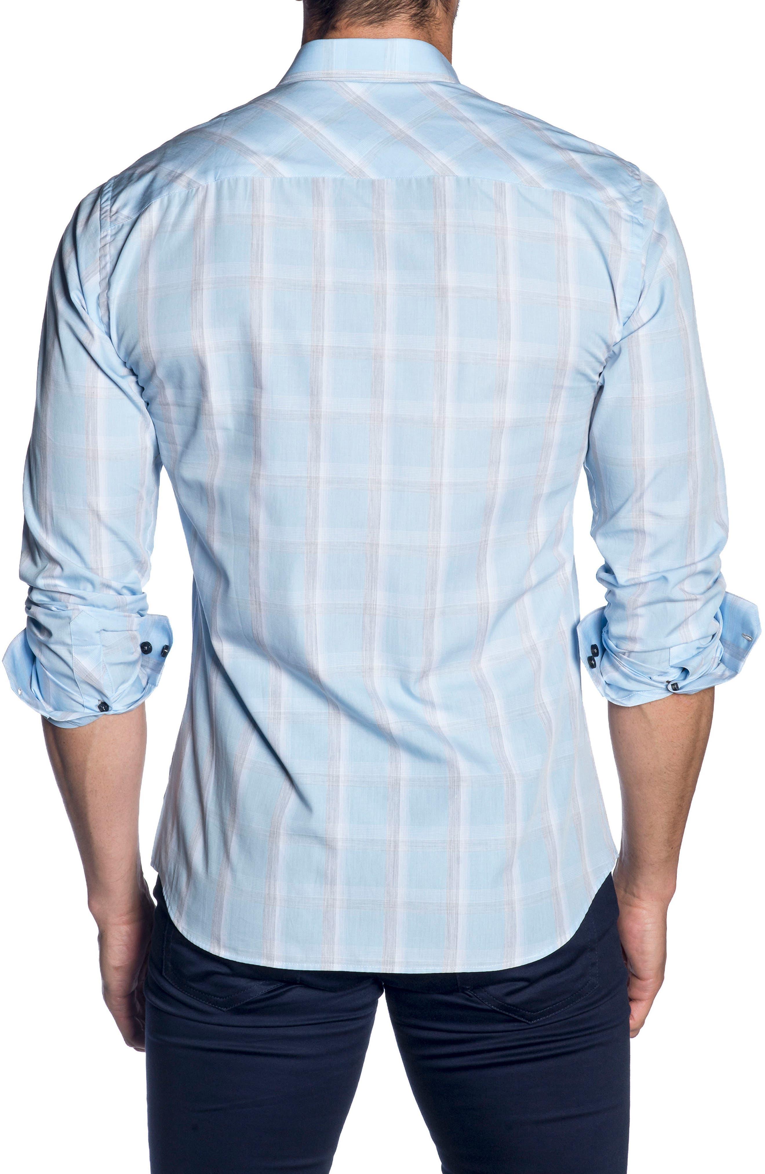 Trim Fit Sport Shirt,                             Alternate thumbnail 2, color,                             SKY BLUE GREY CHECK