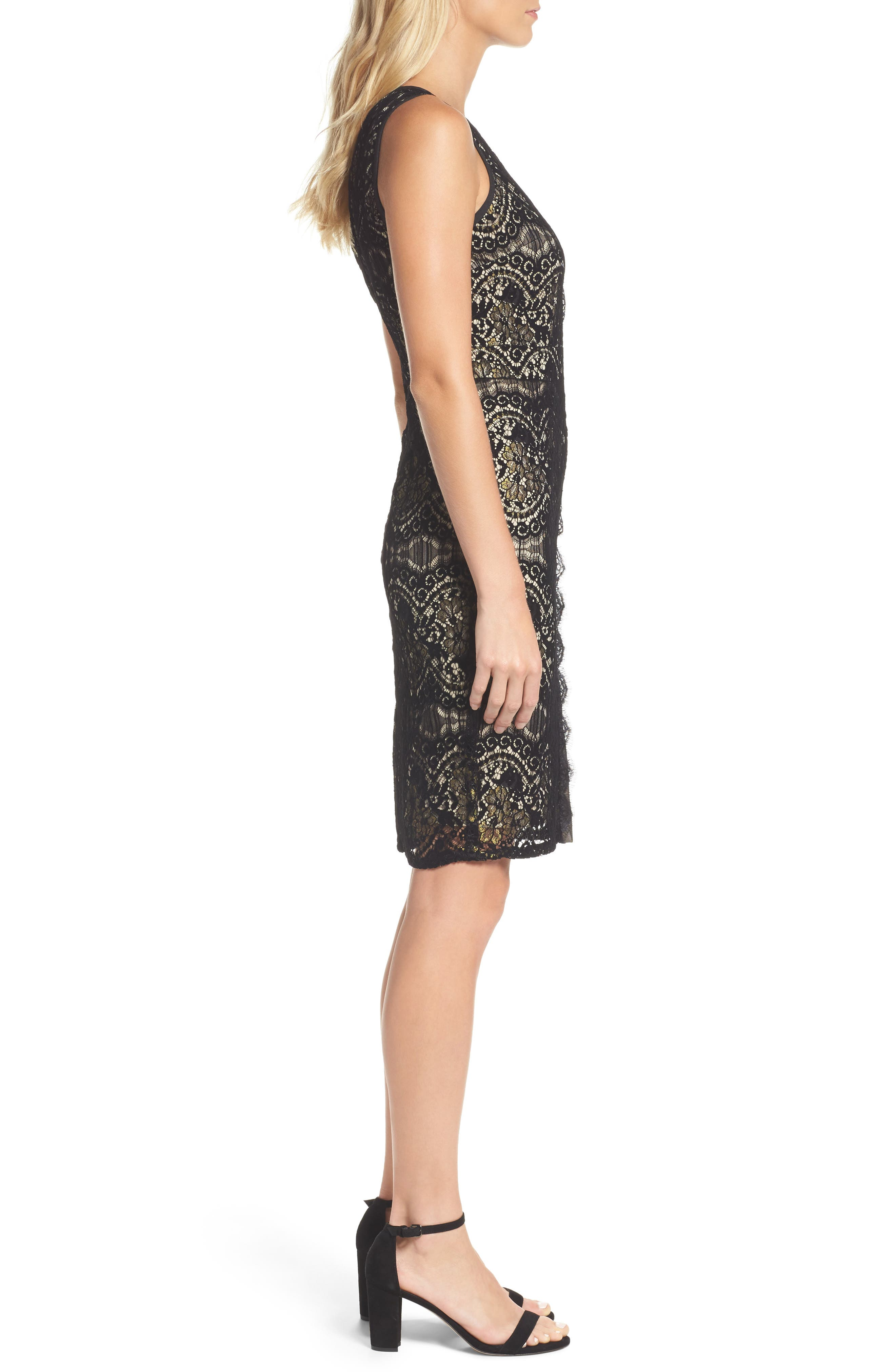 Lace Sheath Dress,                             Alternate thumbnail 3, color,                             001
