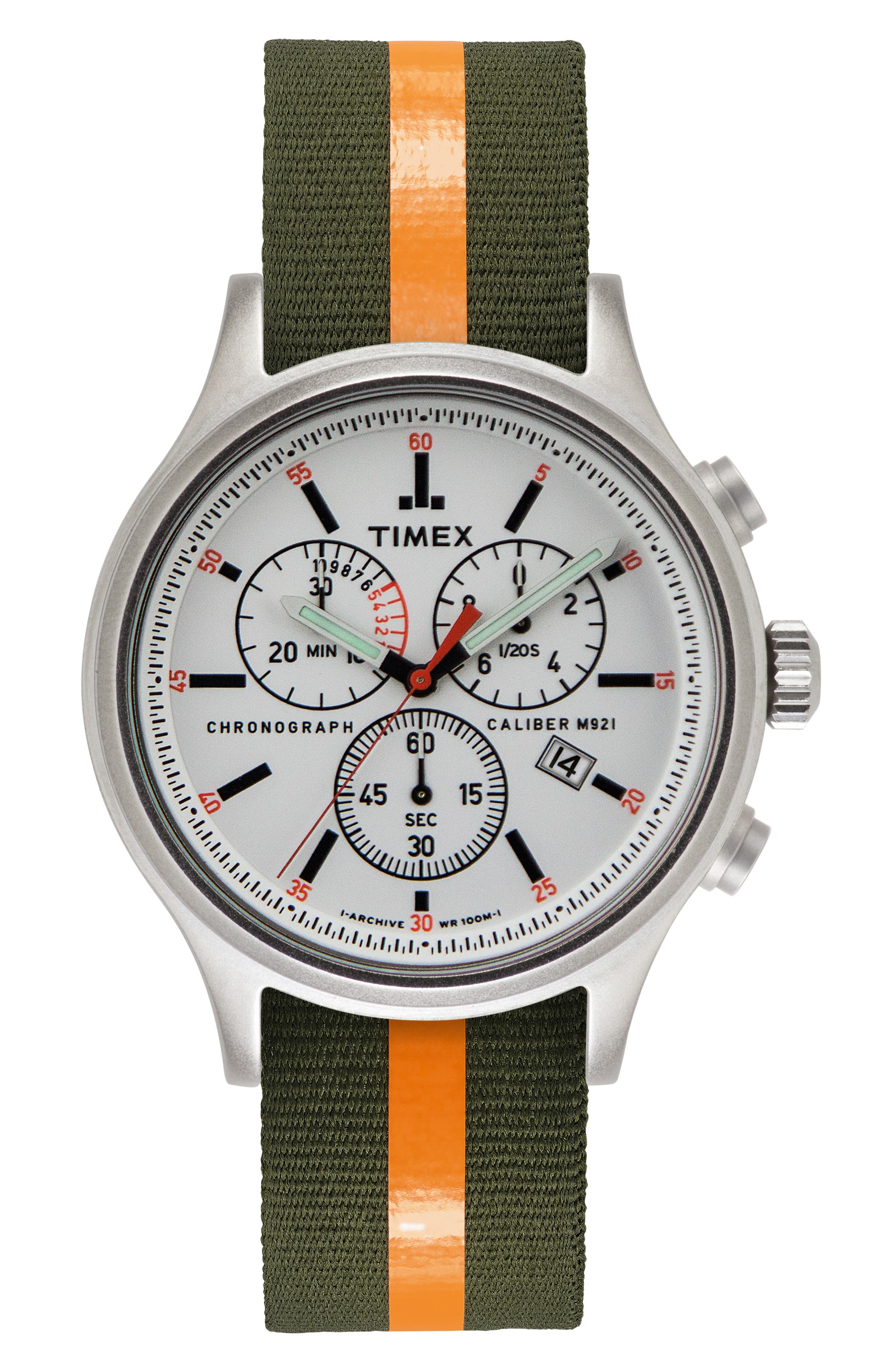 Allied Chronograph Reversible Strap Watch, 42mm,                             Alternate thumbnail 2, color,                             SILVER/ WHITE/ GREEN