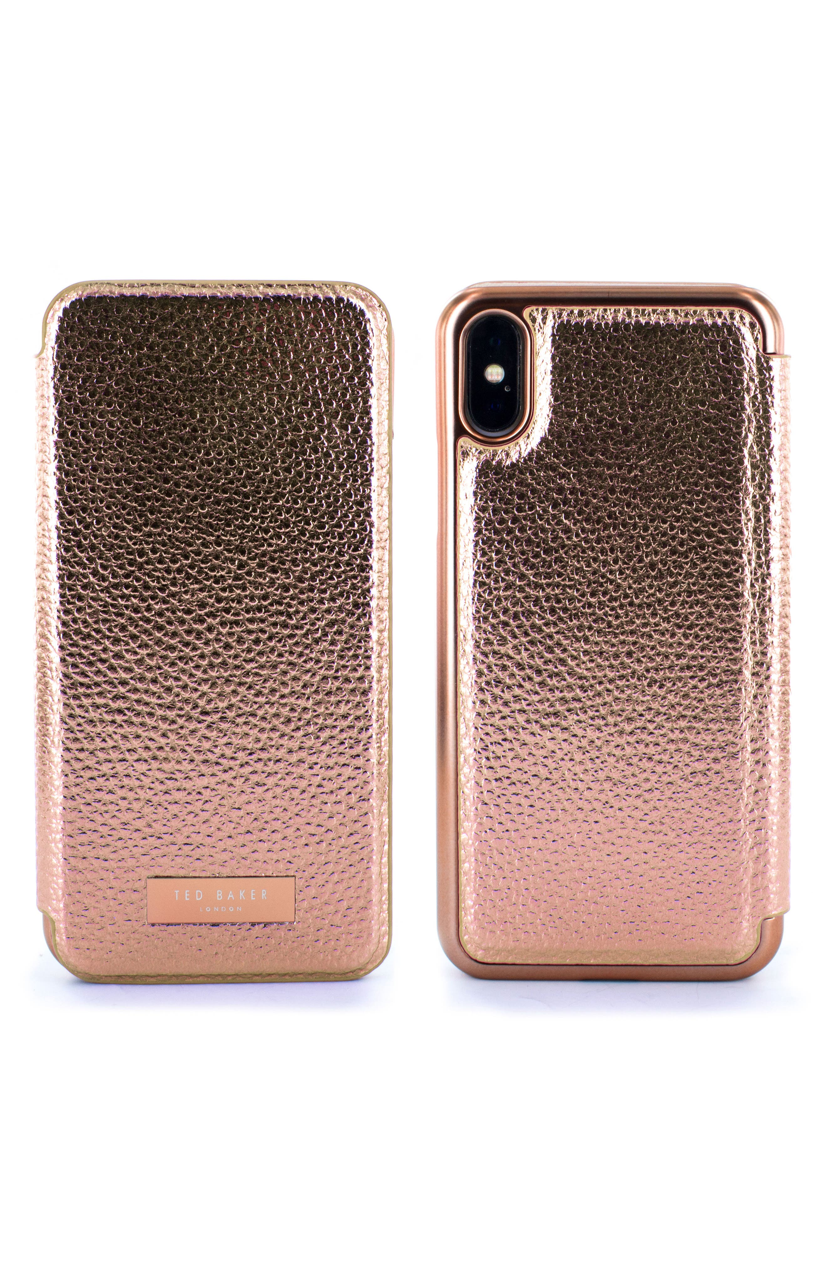 Fenela Faux Leather iPhone X & Xs Mirror Folio Case,                         Main,                         color, ROSE GOLD