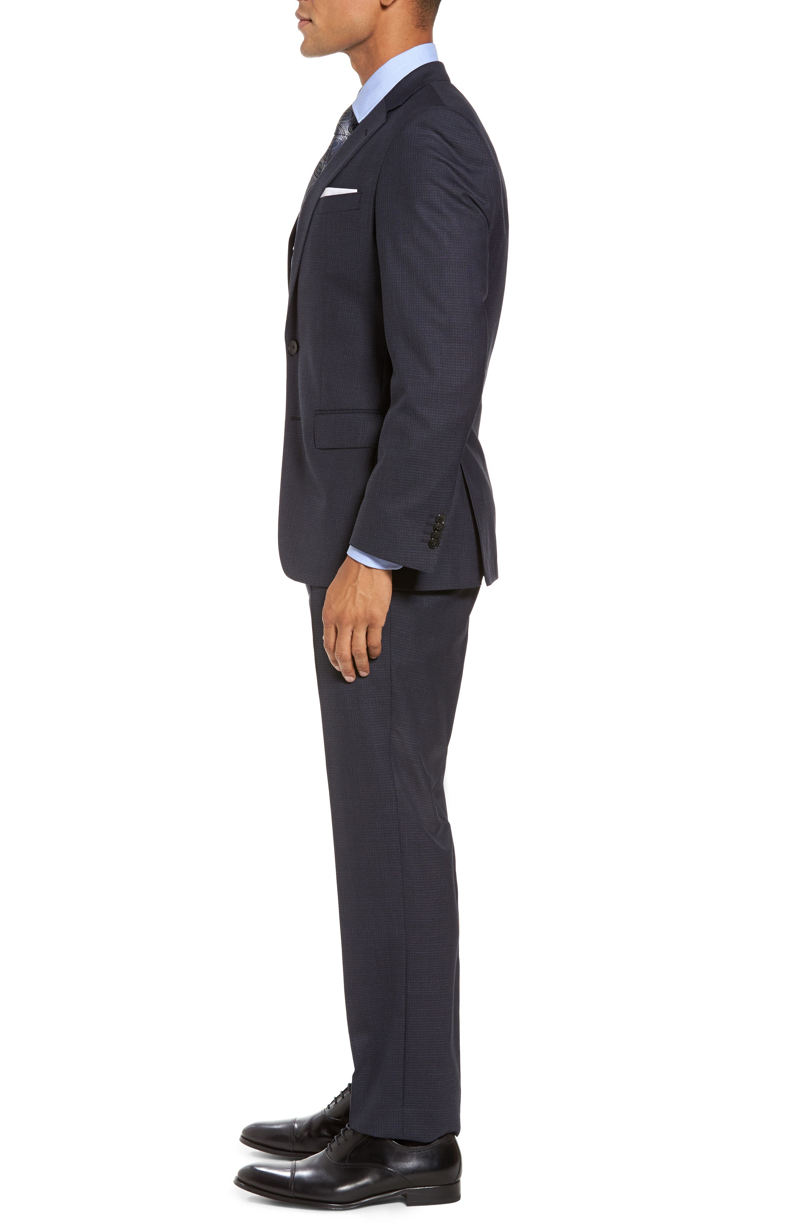 Huge/Genius Trim Fit Check Wool Suit,                             Alternate thumbnail 3, color,                             409