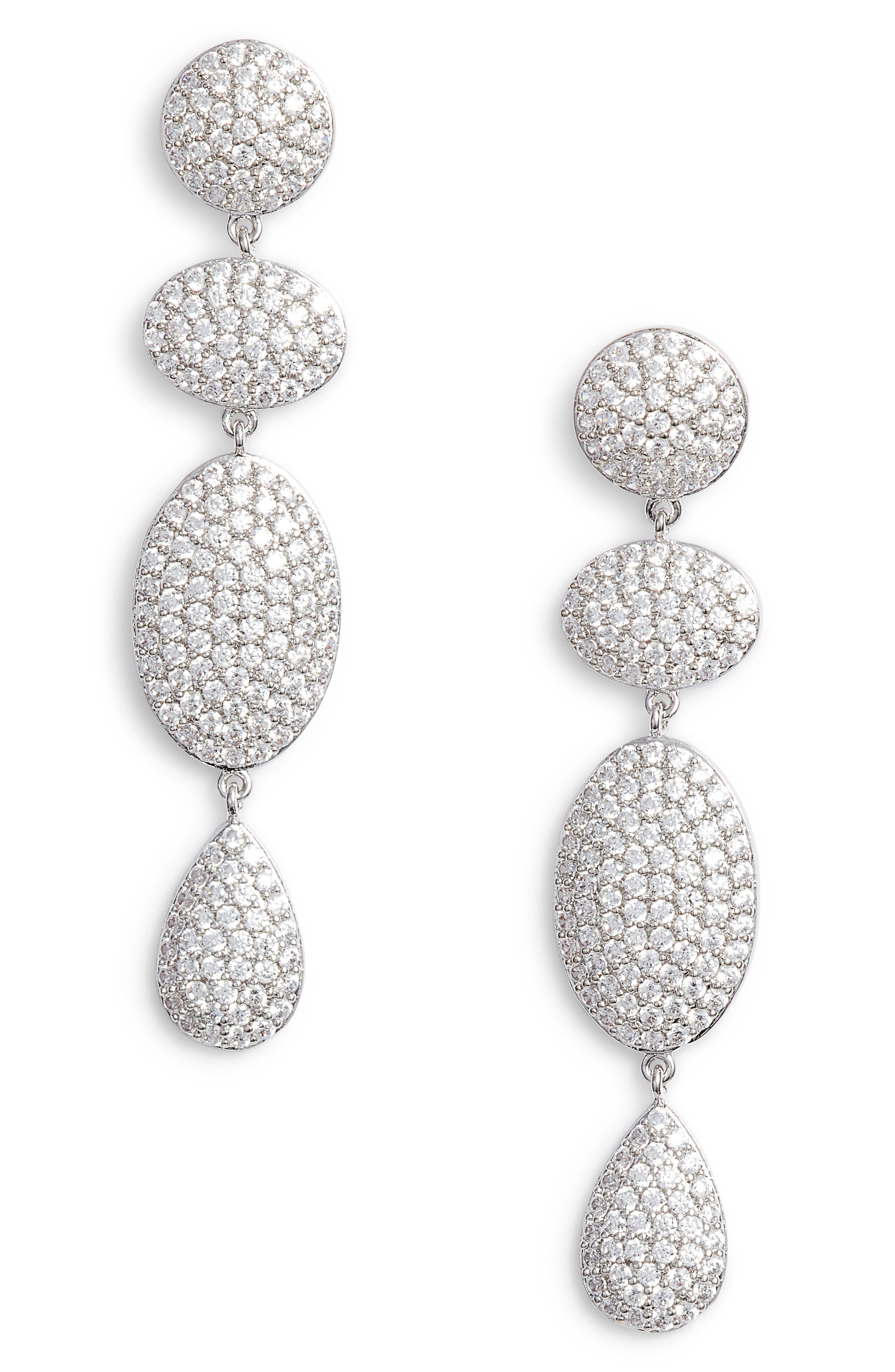 Pavé Spheres Multishape Drop Earrings,                         Main,                         color, CLEAR/ SILVER