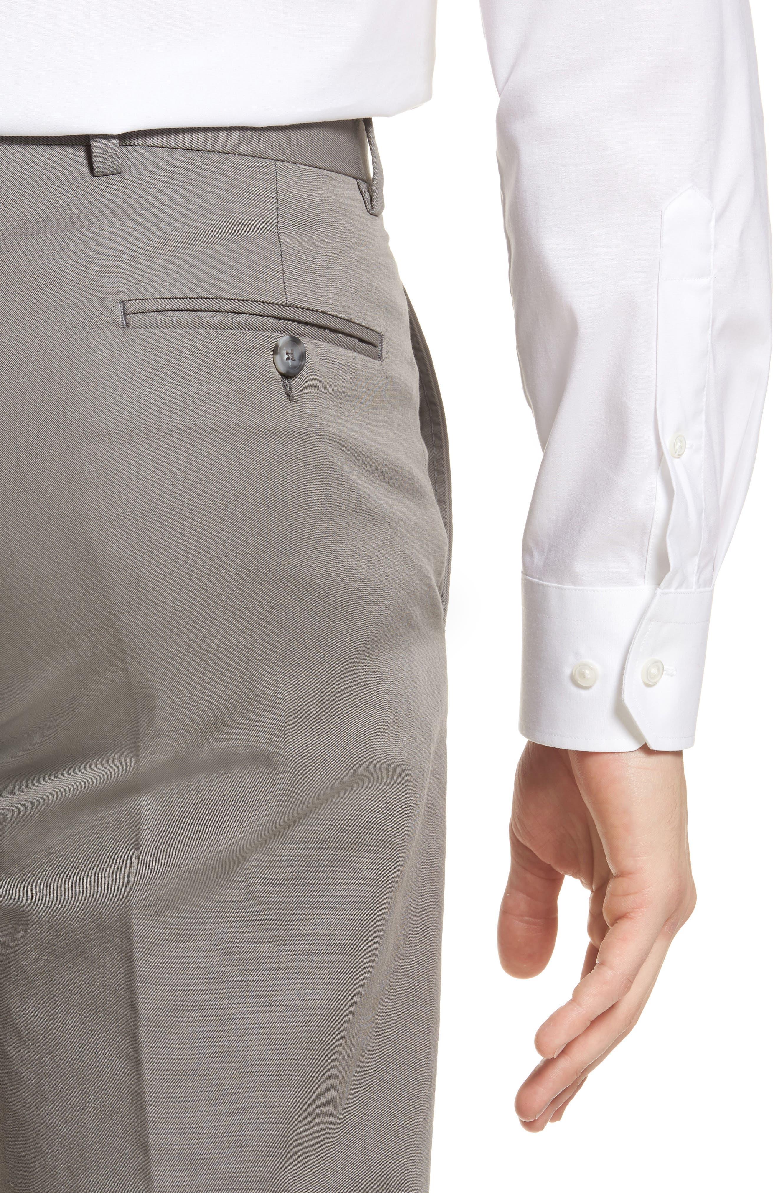 Flat Front Solid Cotton & Linen Trousers,                             Alternate thumbnail 5, color,                             030
