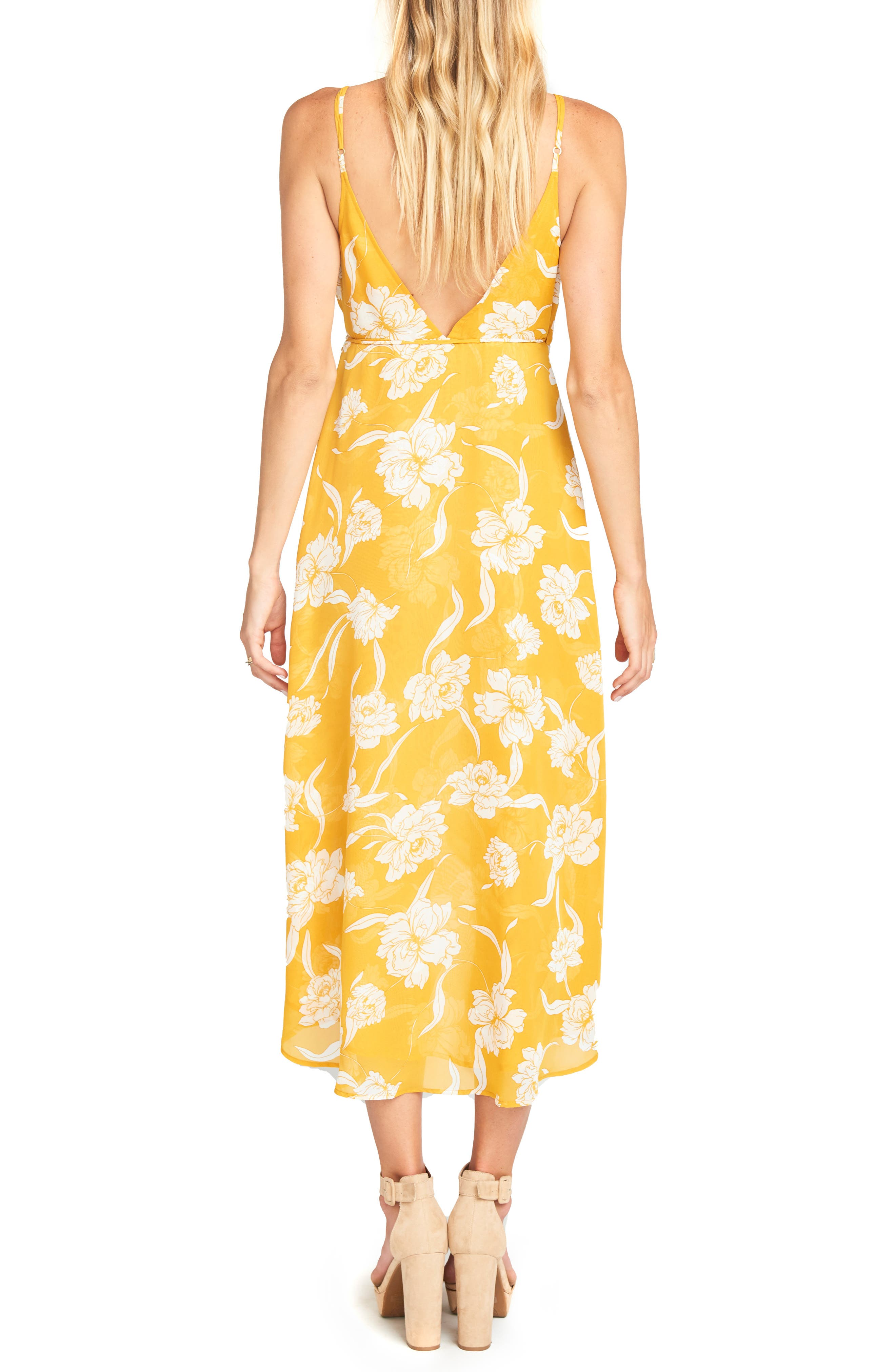 Meghan Wrap Dress,                             Alternate thumbnail 2, color,                             BLOOM GOLD