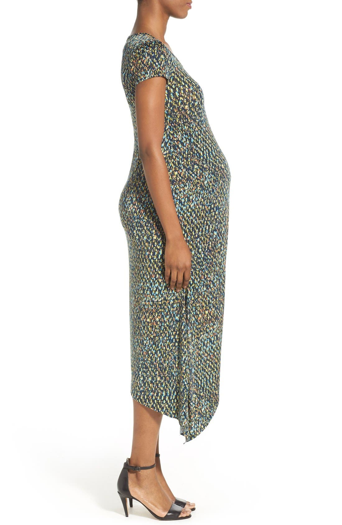 Print Side Ruched Maternity Dress,                             Alternate thumbnail 3, color,                             ABSTRACT GRAPHIC PRINT