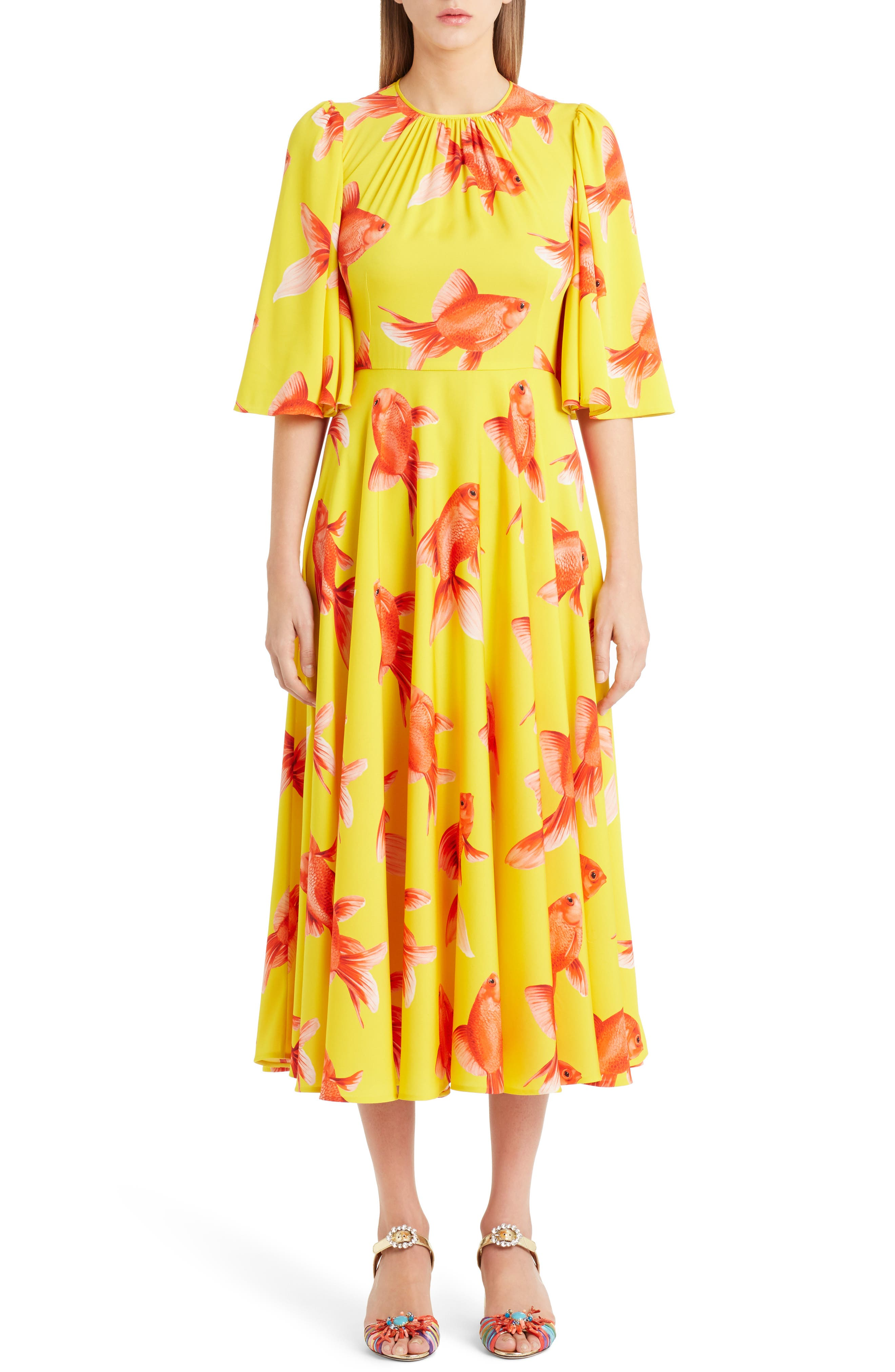 Goldfish Print Silk Blend Charmeuse Dress,                         Main,                         color, 701