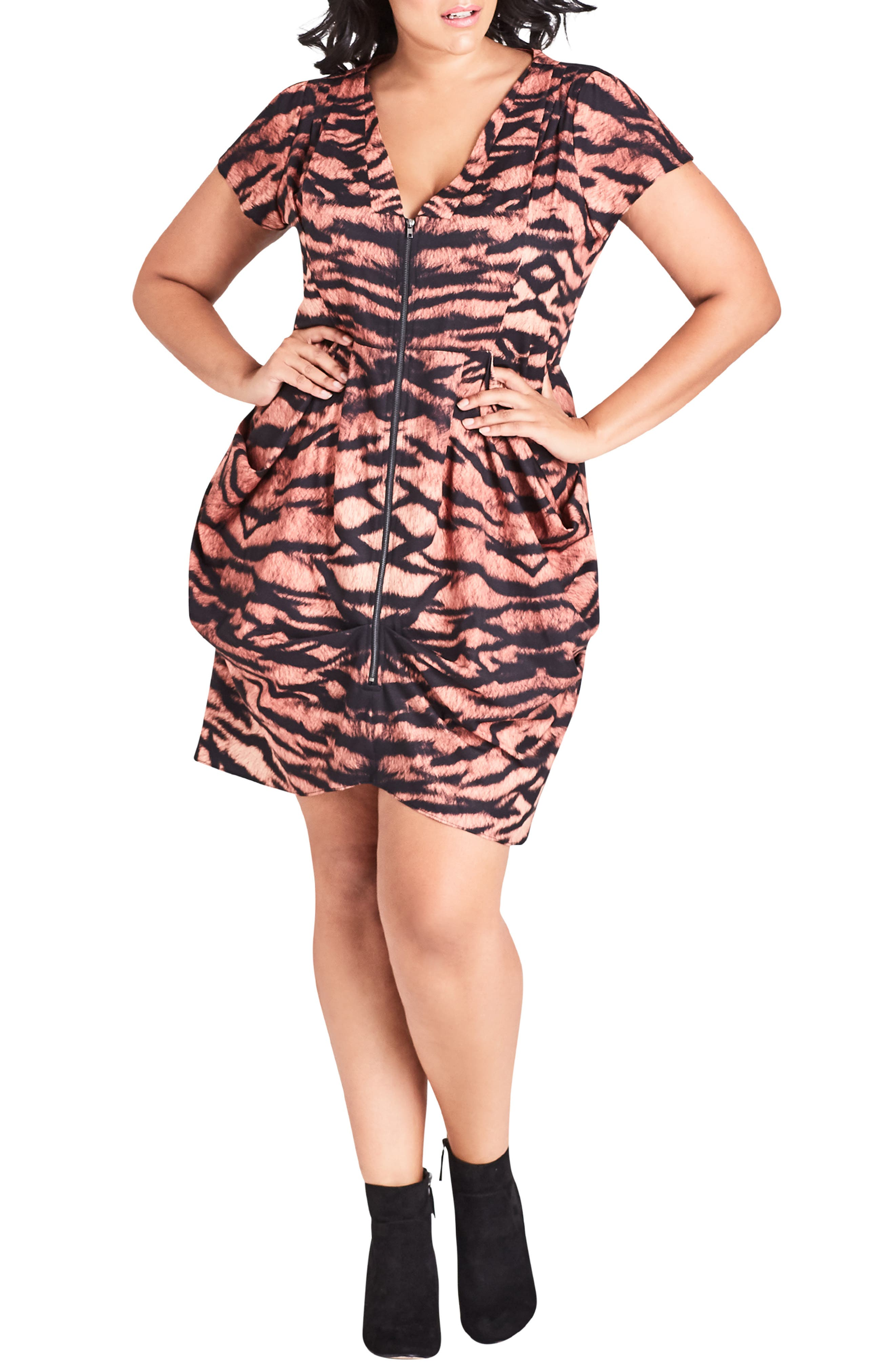 Plus Size City Chic Tigress Tunic Dress, Brown