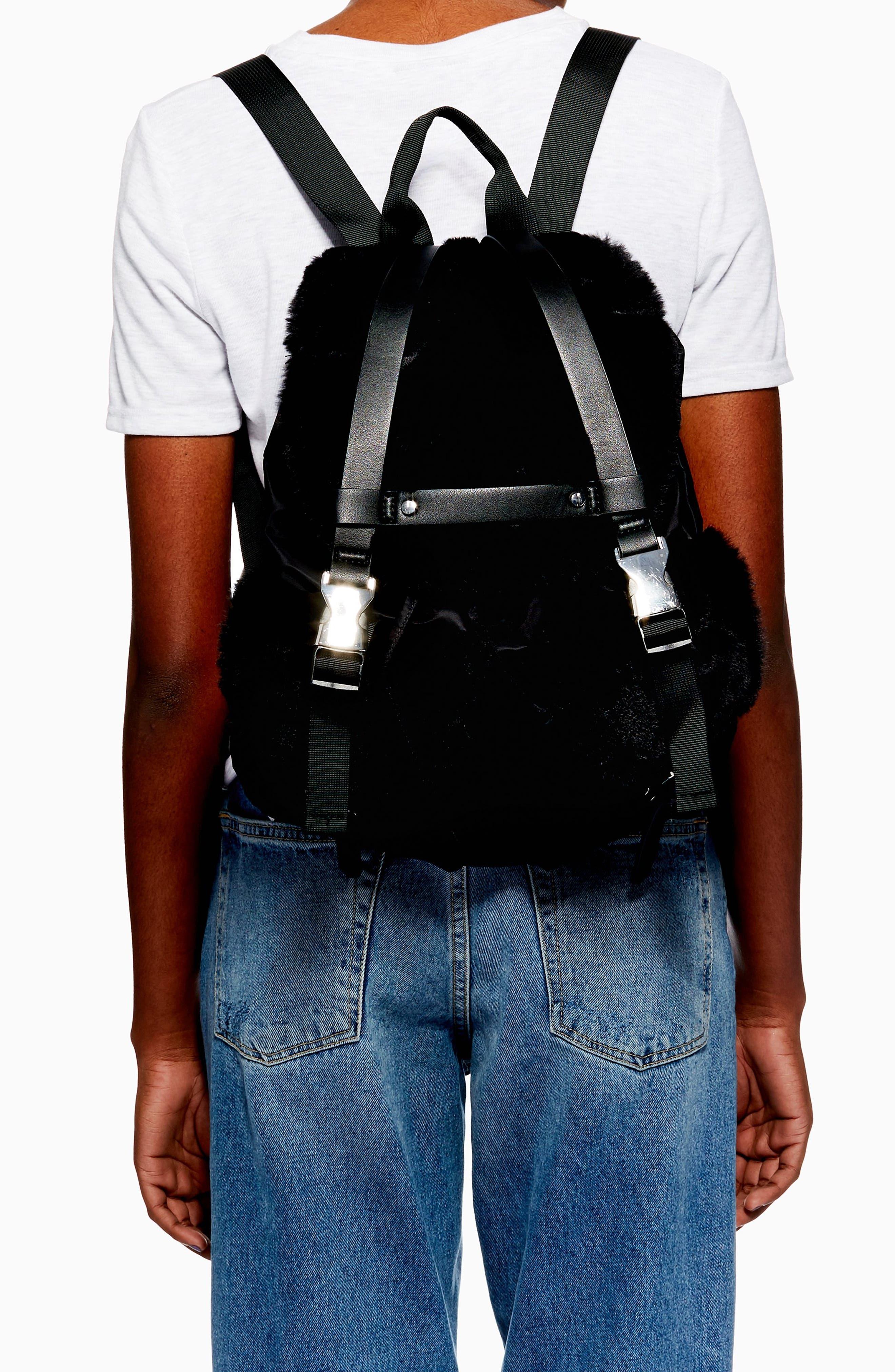 Boston Faux Fur Backpack,                             Alternate thumbnail 2, color,                             BLACK