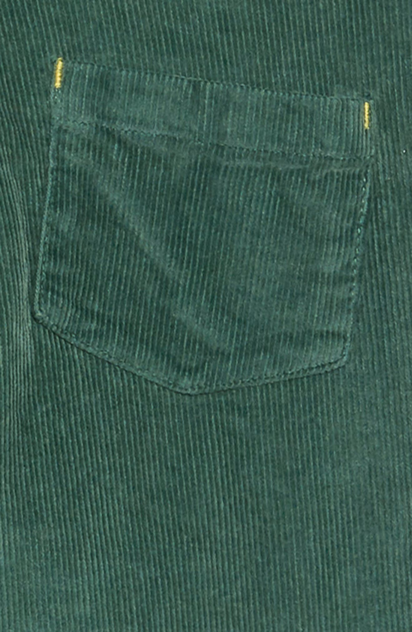 Embroidered Dungaree Overalls,                             Alternate thumbnail 3, color,                             WILLOW GREEN