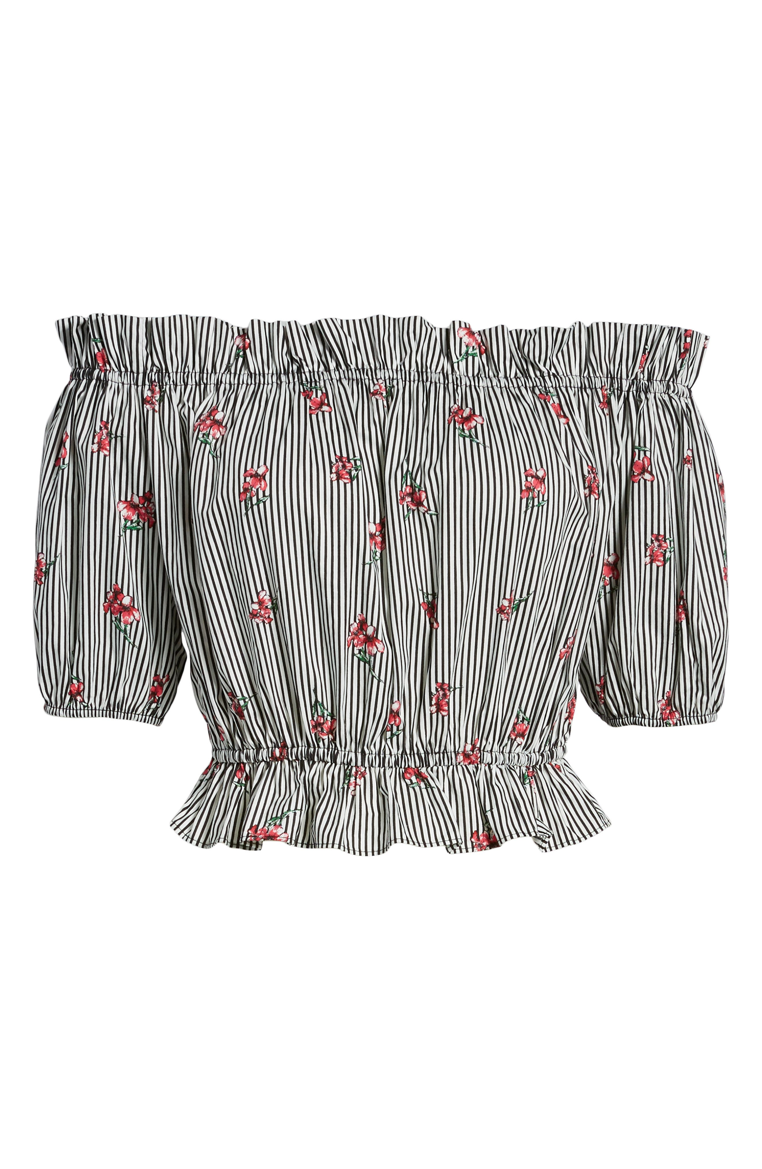 Floral Stripe Off the Shoulder Crop Top,                             Alternate thumbnail 7, color,                             001