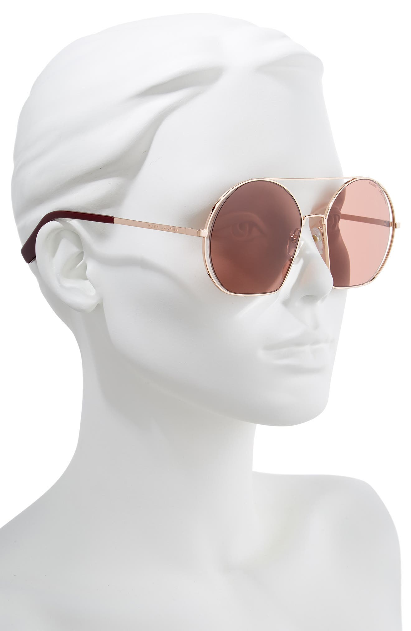 56mm Round Sunglasses,                             Alternate thumbnail 2, color,                             GOLD/ BURGUNDY