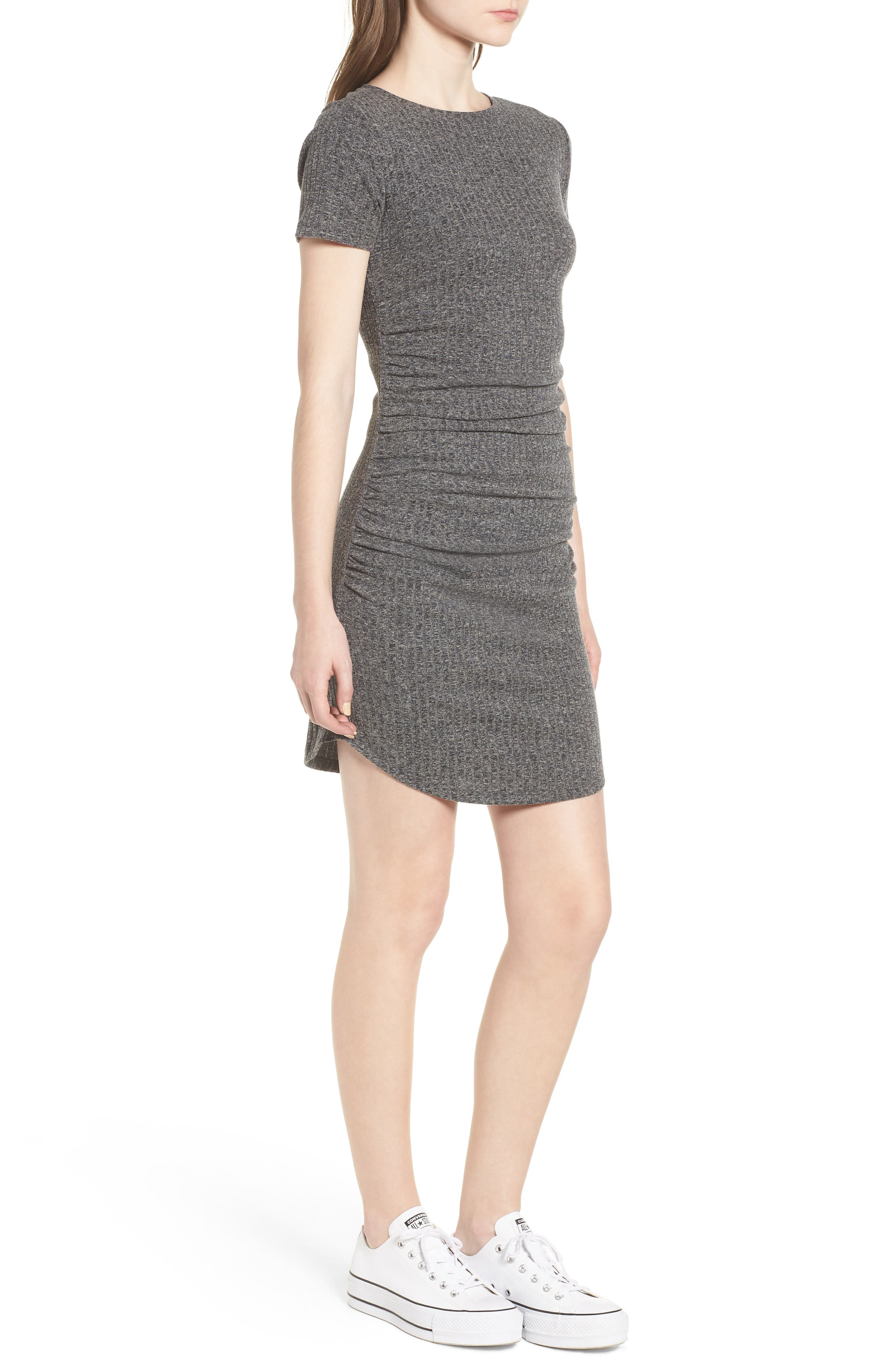 Ruched Ribbed Body-Con Dress,                             Alternate thumbnail 3, color,                             GREY MEDIUM CHARCOAL HEATHER