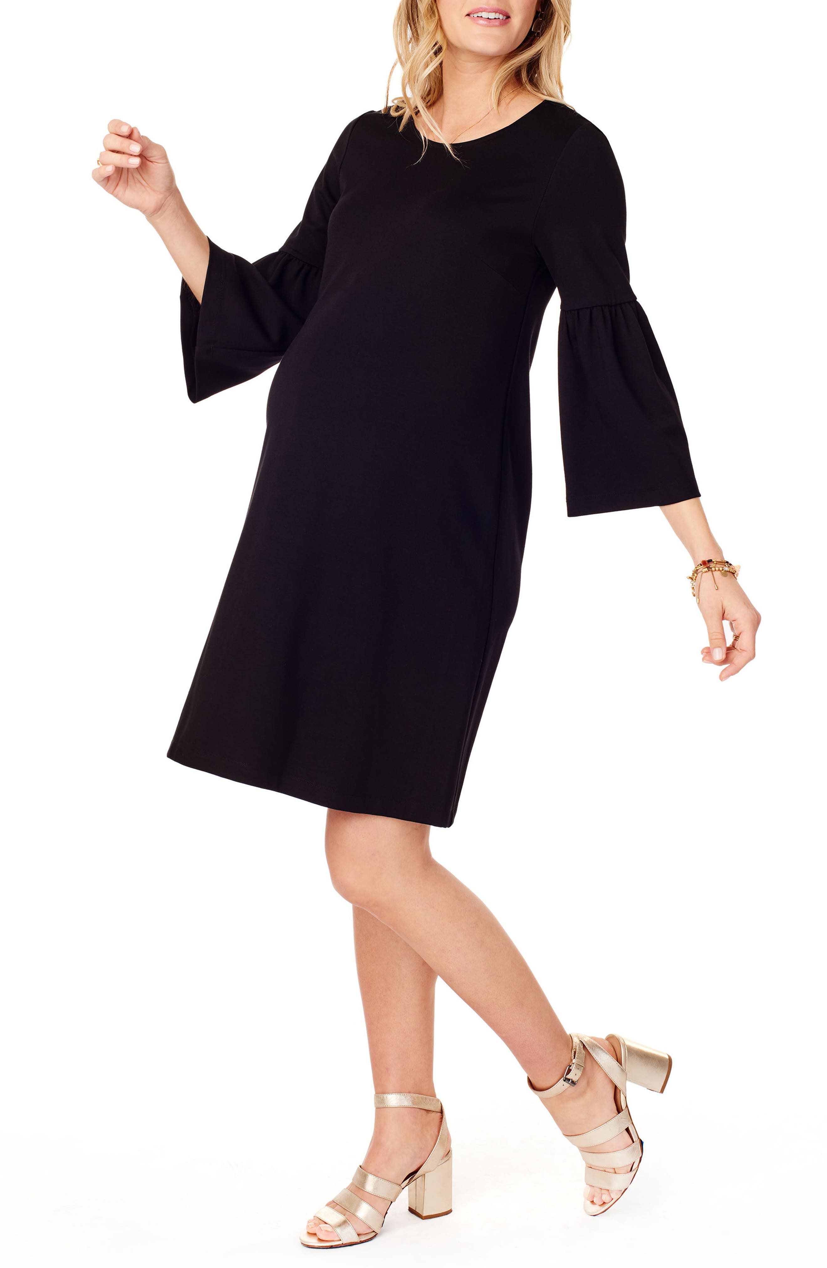 Ponte Knit Bell Sleeve Maternity Dress,                             Alternate thumbnail 3, color,                             JET BLACK