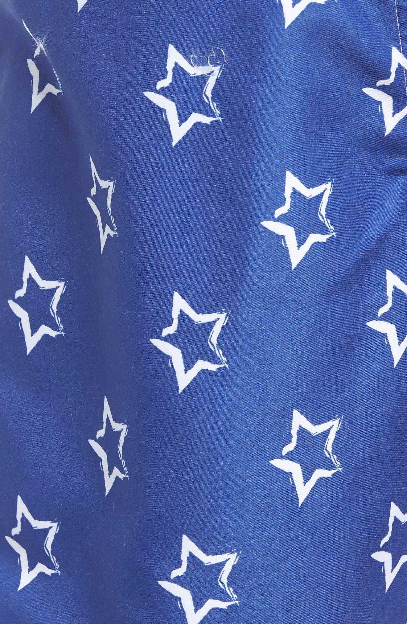 Star Print Swim Trunks,                             Alternate thumbnail 5, color,                             BLUE